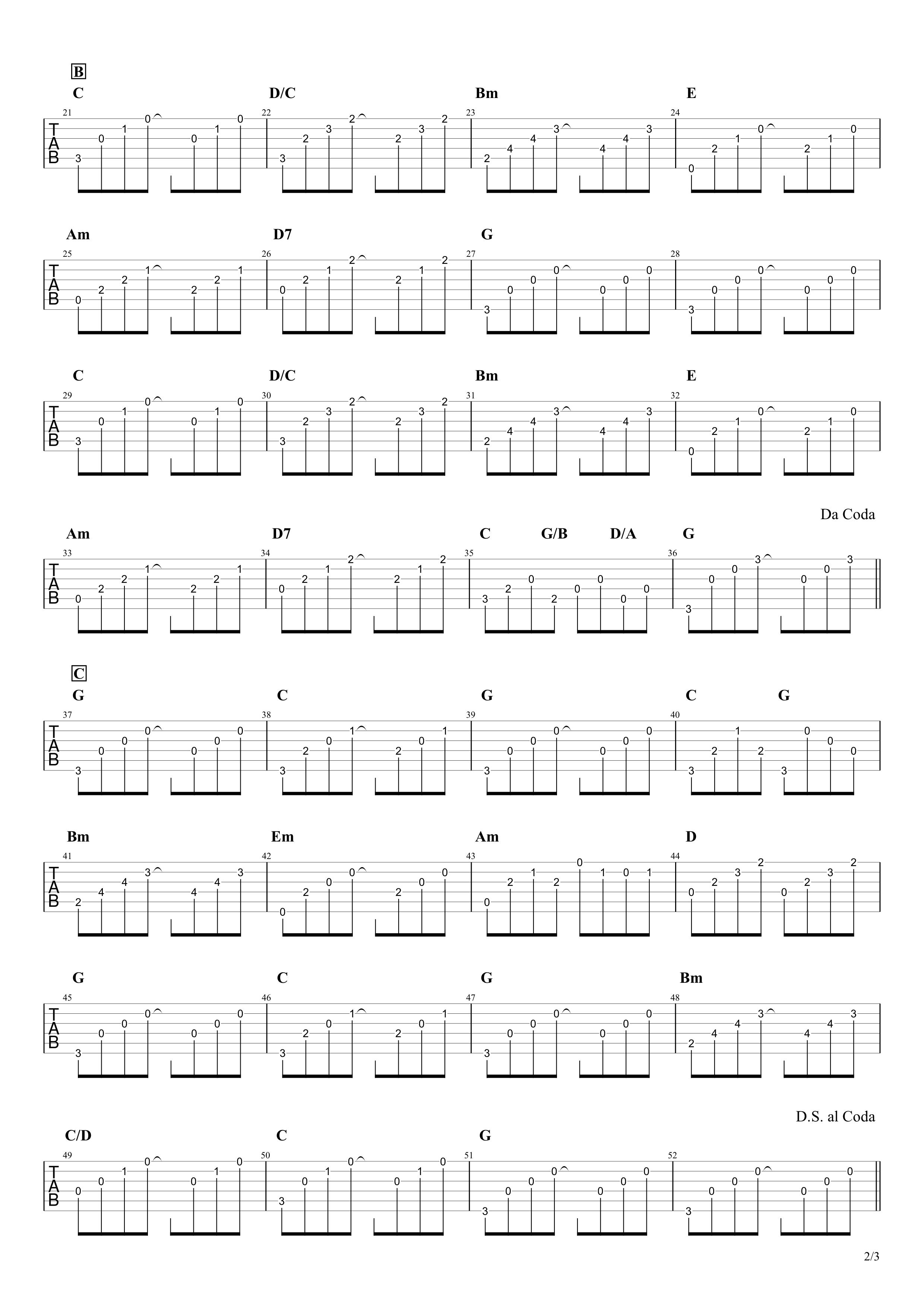 サボテンの花/チューリップ ギタータブ譜 アルペジオざっくりコピーVer.02