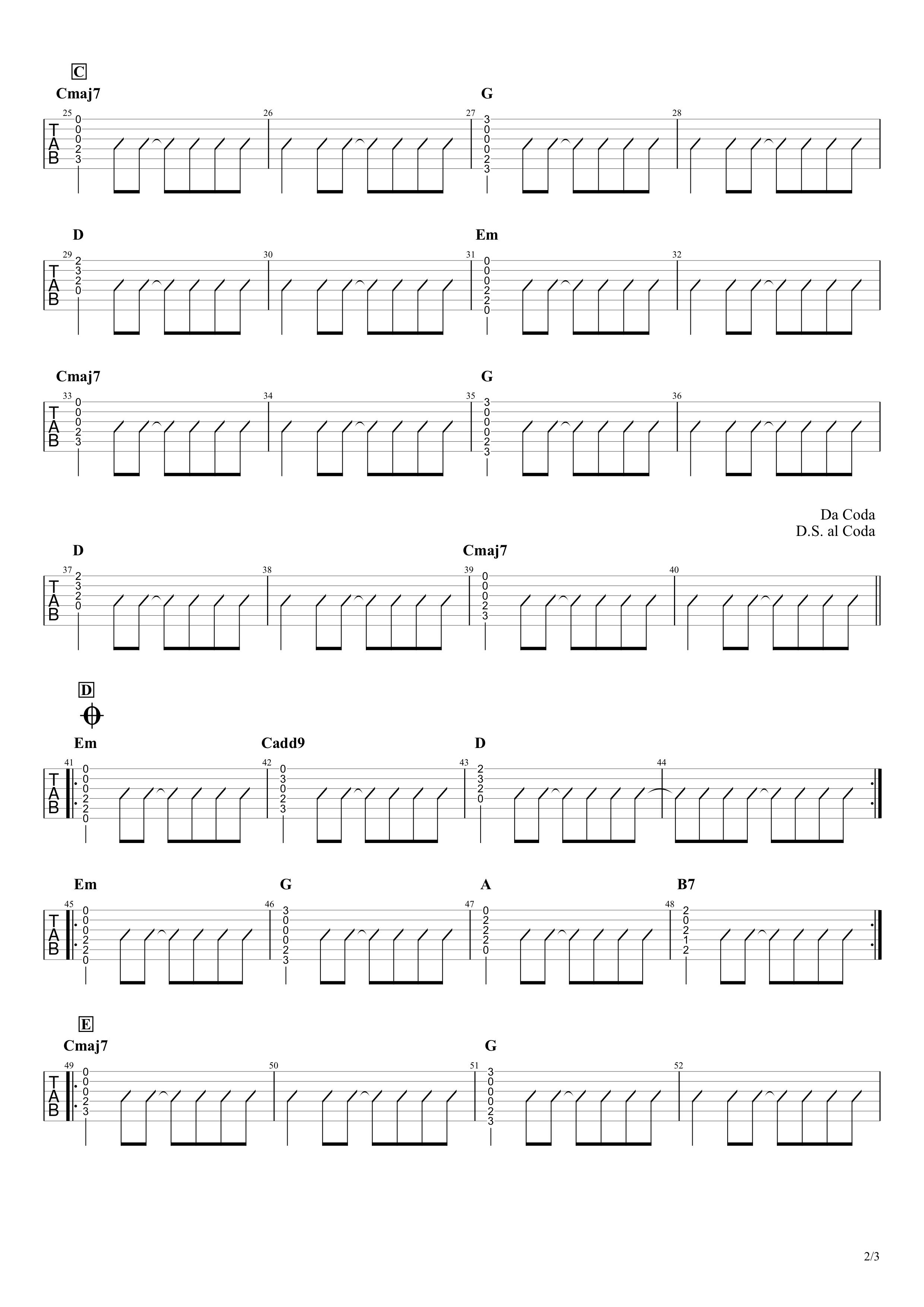 フレンズ/REBECCA ギタータブ譜 コードストロークで弾く簡単Ver.02