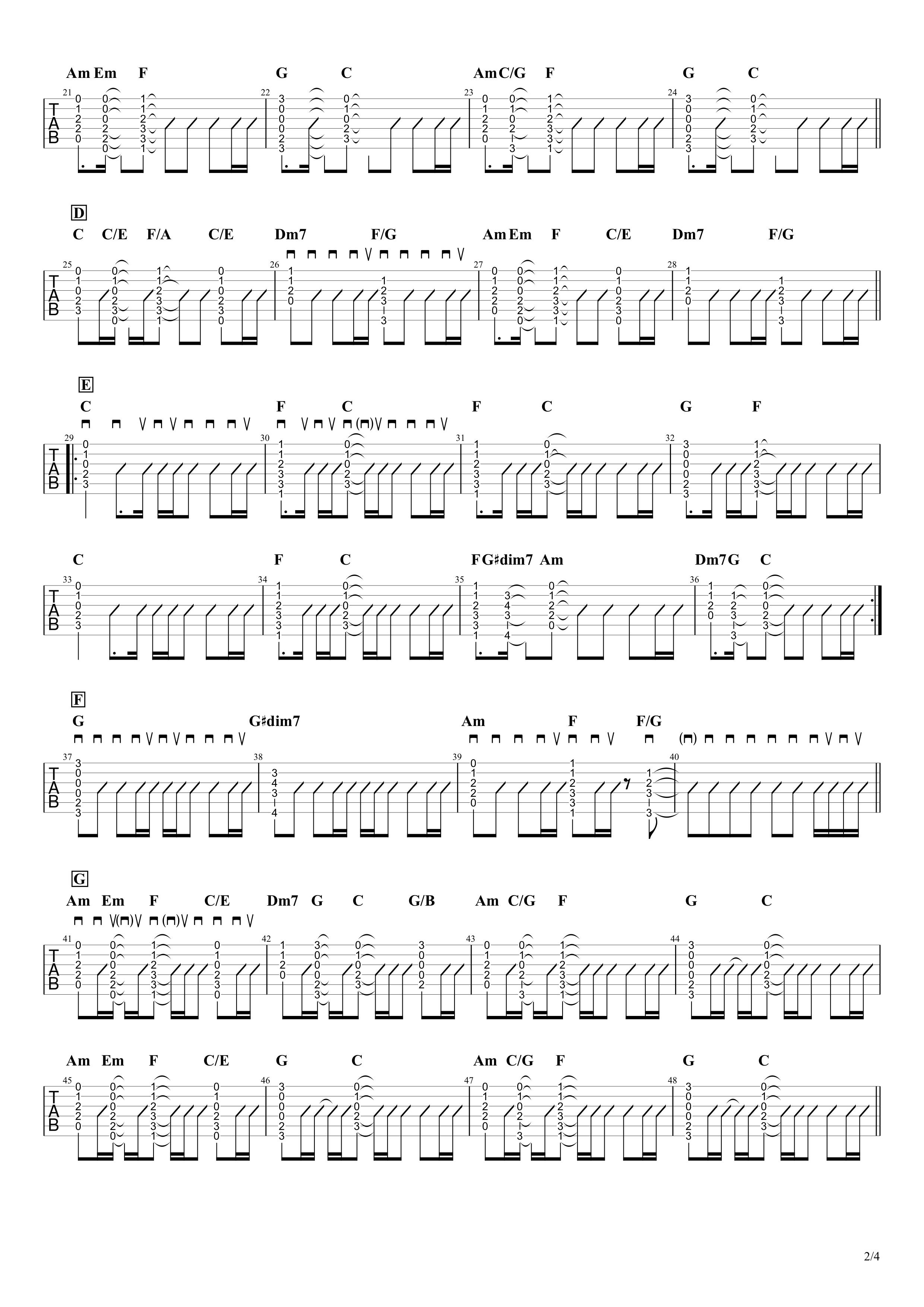 僕が一番欲しかったもの/槇原敬之 ギタータブ譜 コードストロークで弾くVer.02