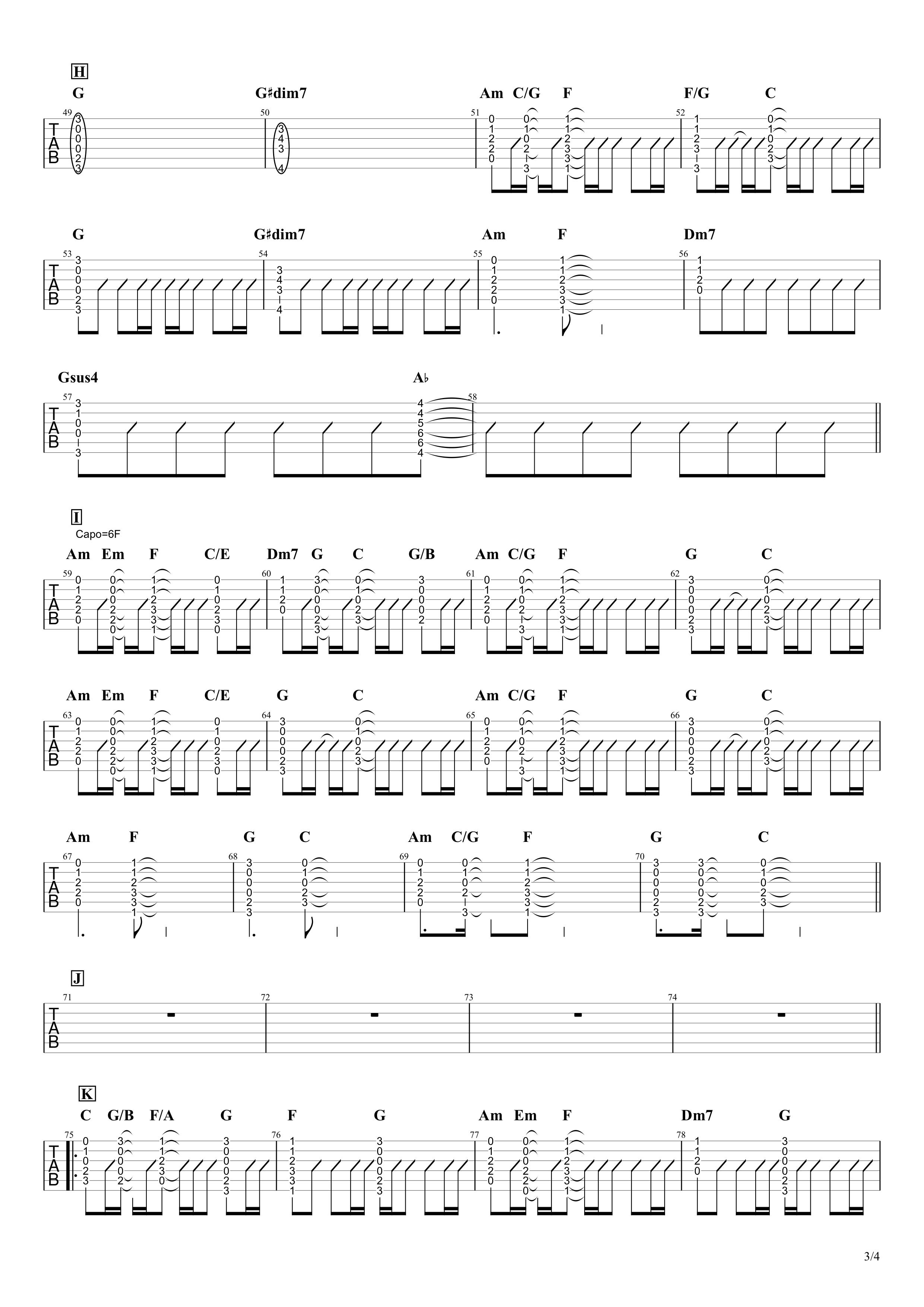 僕が一番欲しかったもの/槇原敬之 ギタータブ譜 コードストロークで弾くVer.03