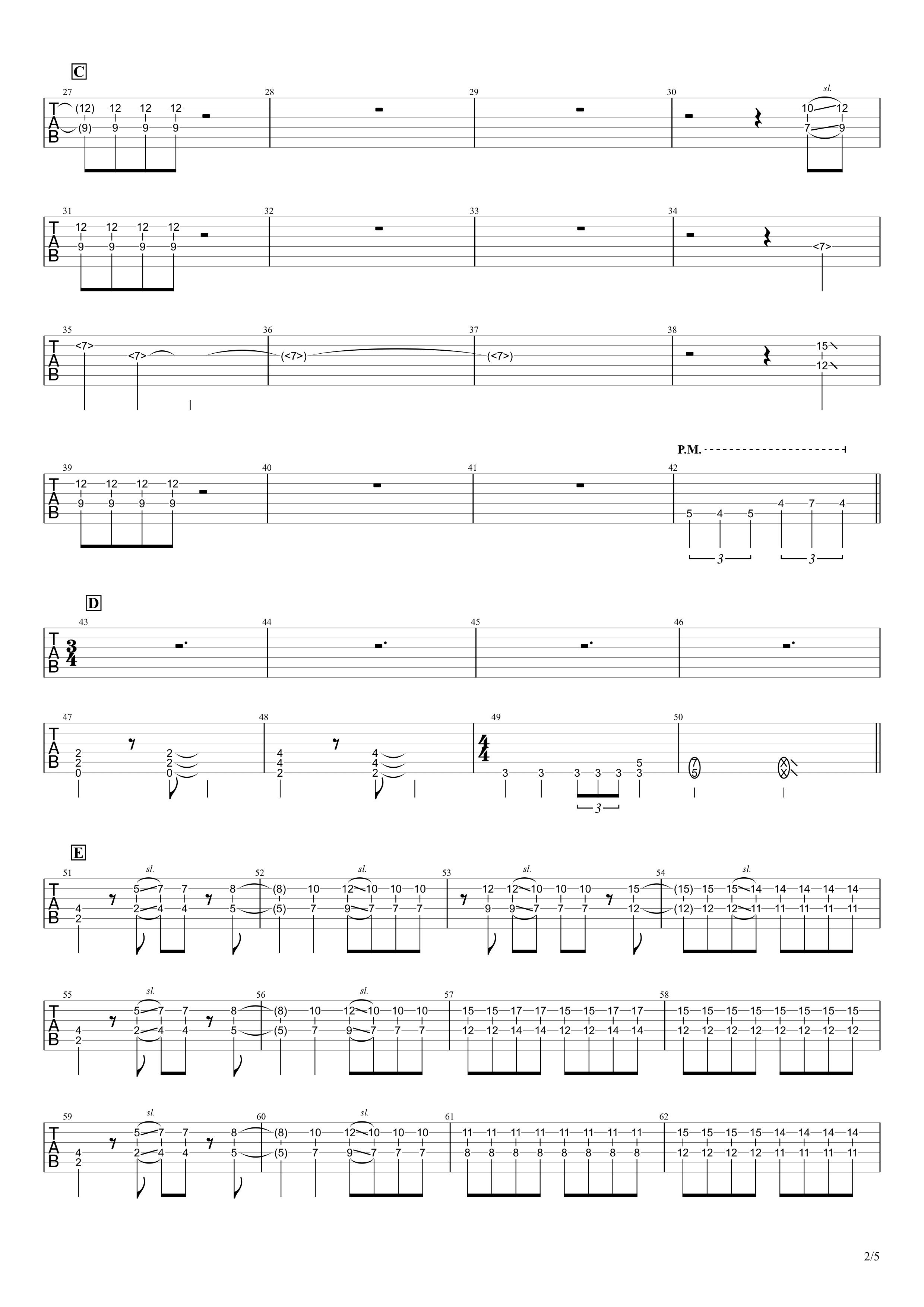 天ノ弱/164 feat.GUMI ギタータブ譜 リードギターほぼ完コピVer.02