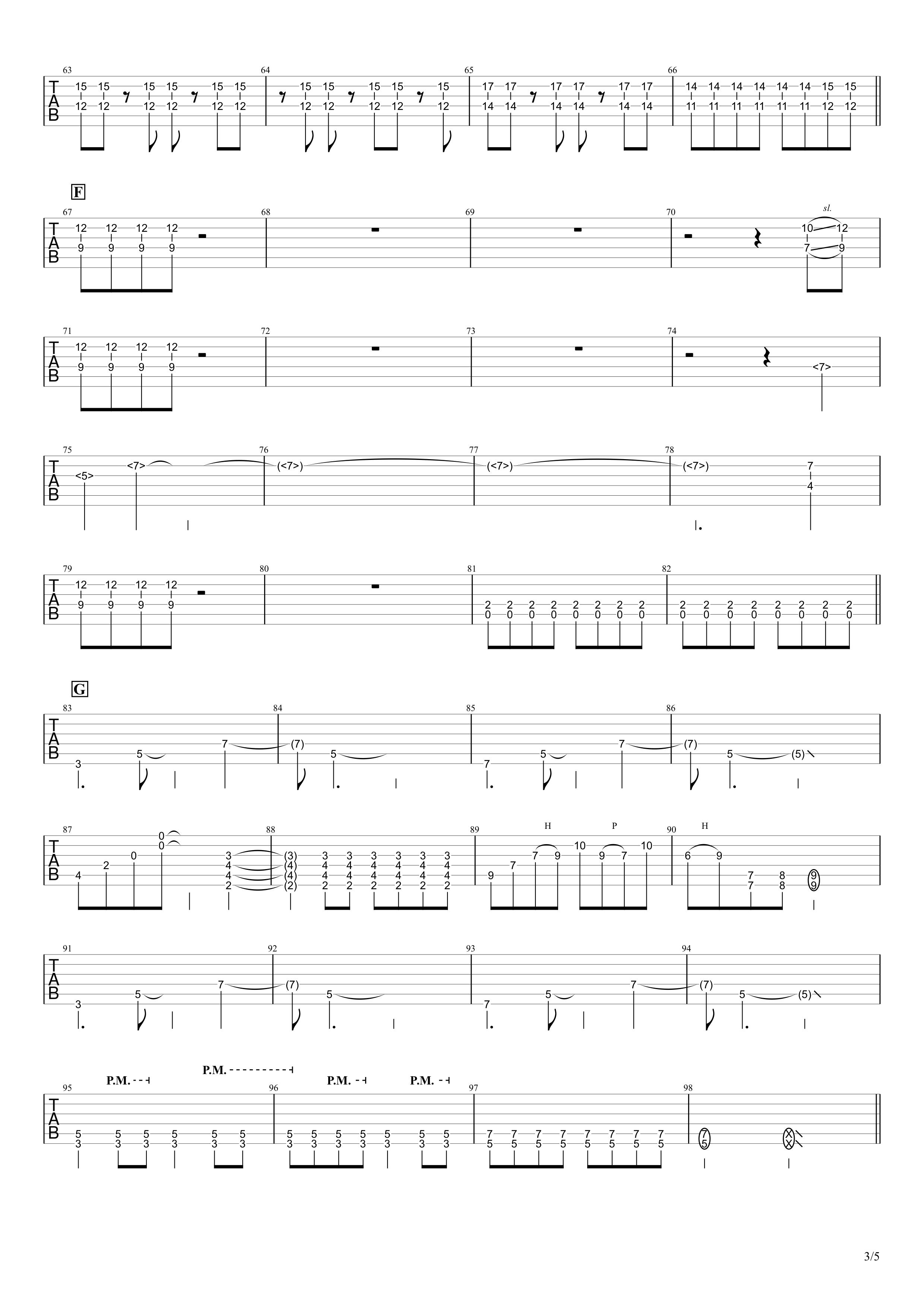 天ノ弱/164 feat.GUMI ギタータブ譜 リードギターほぼ完コピVer.03