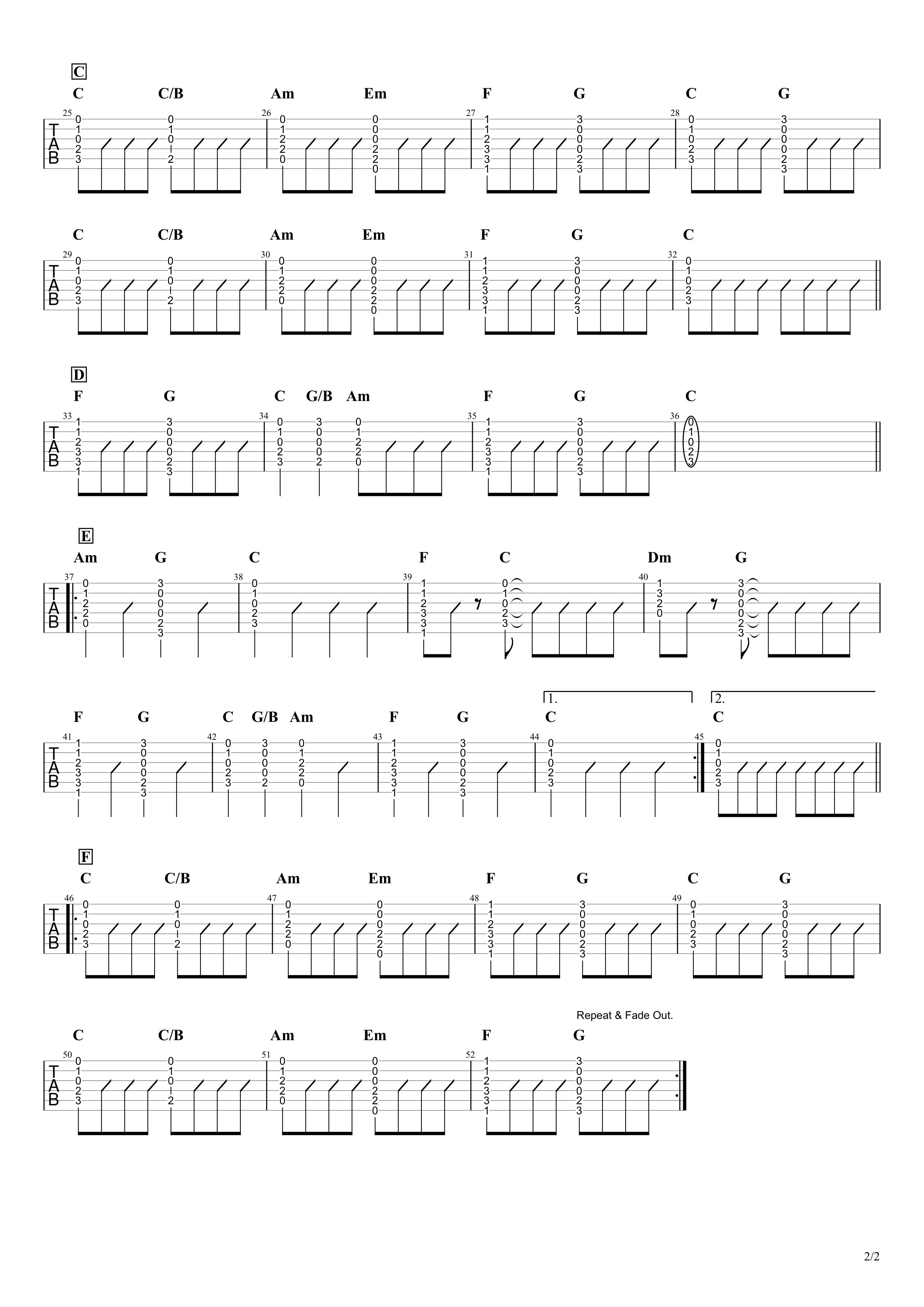 心の旅/チューリップ ギタータブ譜 コードストロークで弾くVer.02