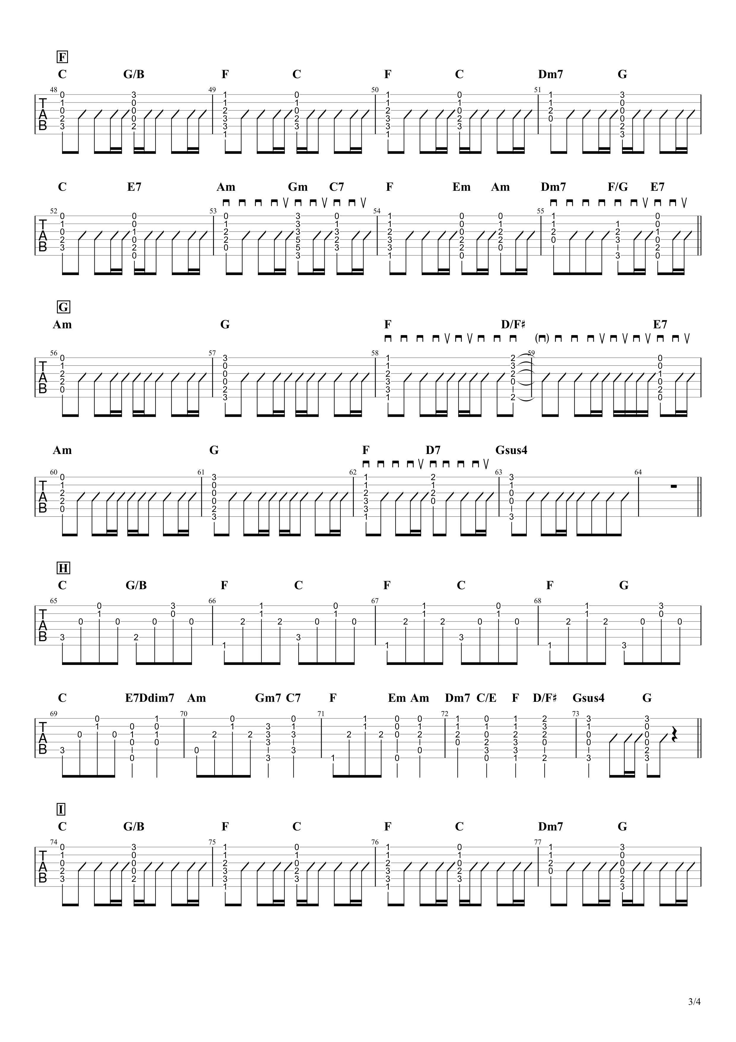 猫~THE FIRST TAKE ver.~/DISH// ギタータブ譜 アコギコード&アルペジオアレンジVer.03