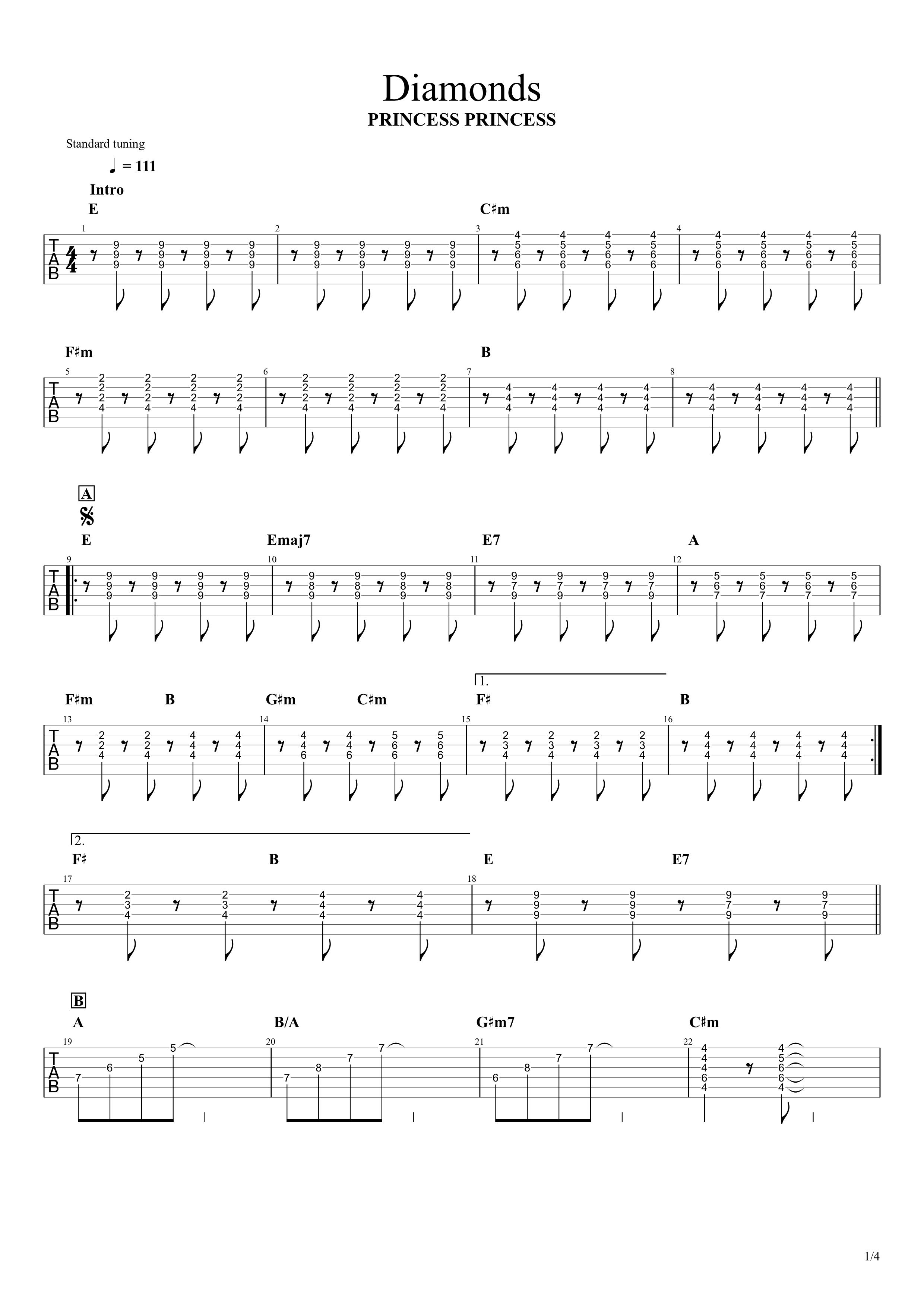 Diamonds(ダイアモンド)/PRINCESS PRINCESS ギタータブ譜 リードギターほぼ完コピVer.01