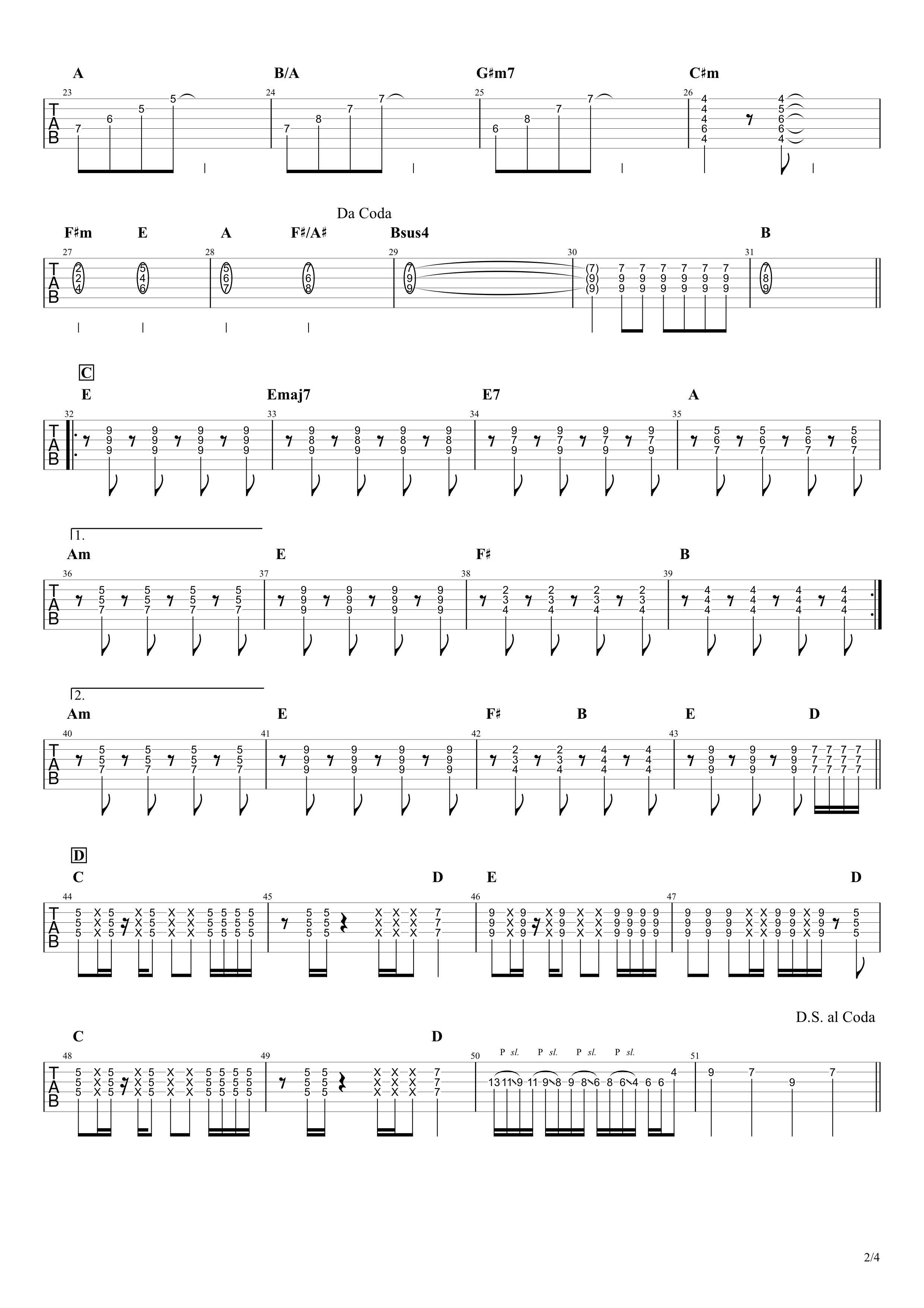 Diamonds(ダイアモンド)/PRINCESS PRINCESS ギタータブ譜 リードギターほぼ完コピVer.02