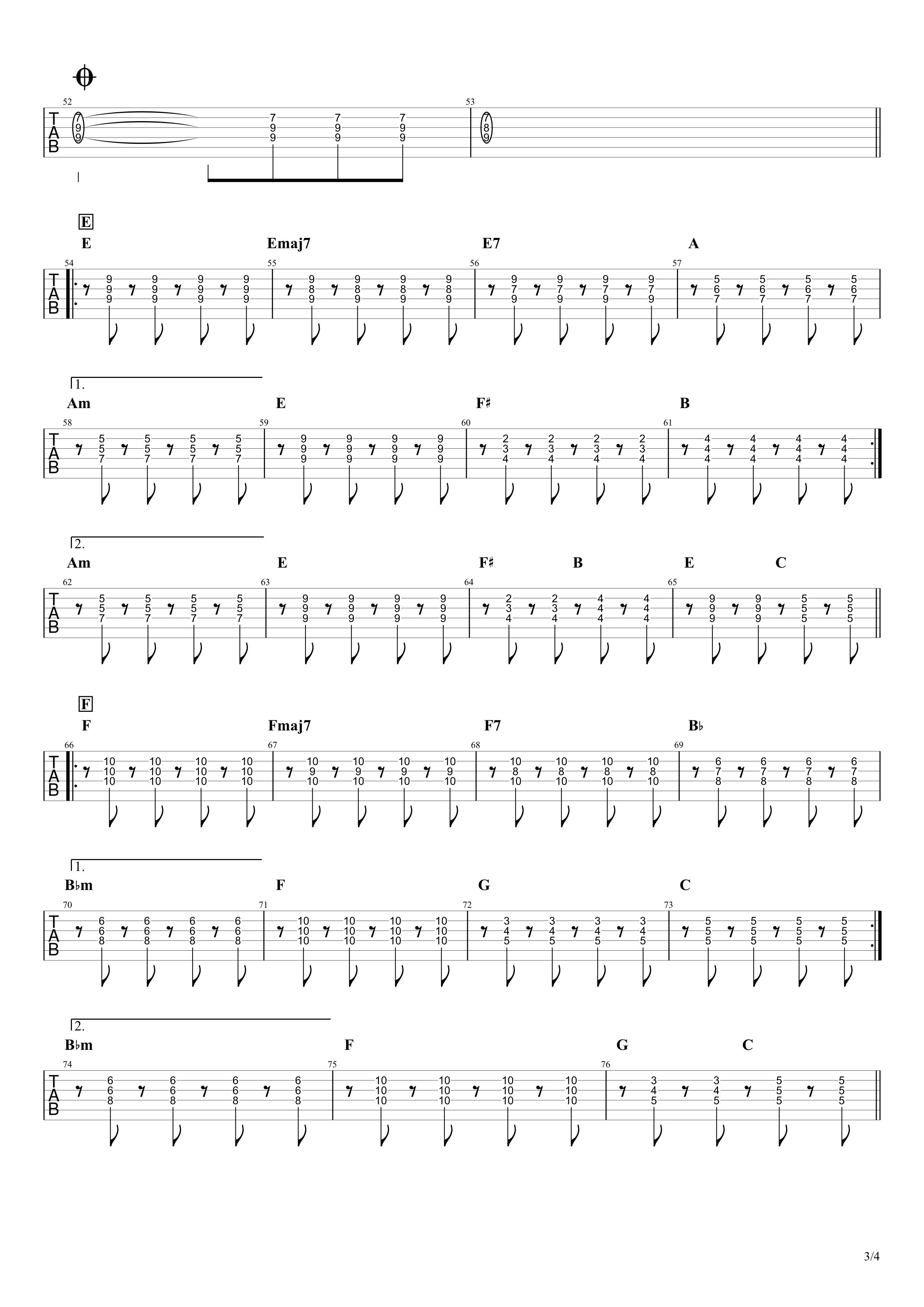Diamonds(ダイアモンド)/PRINCESS PRINCESS ギタータブ譜 リードギターほぼ完コピVer.03