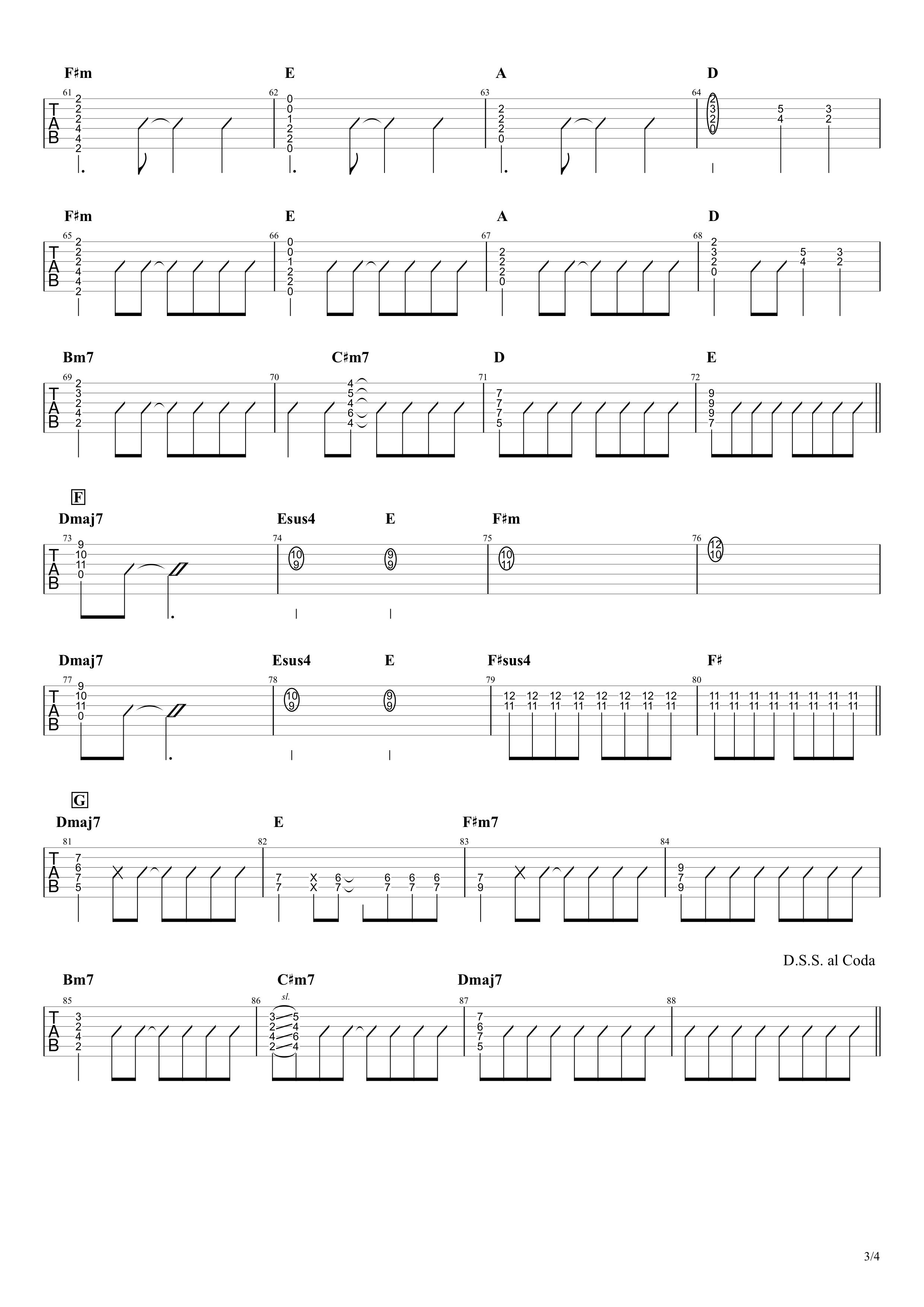 Under The Same Sky/MIYAVI ギタータブ譜 ざっくり完コピVer.03