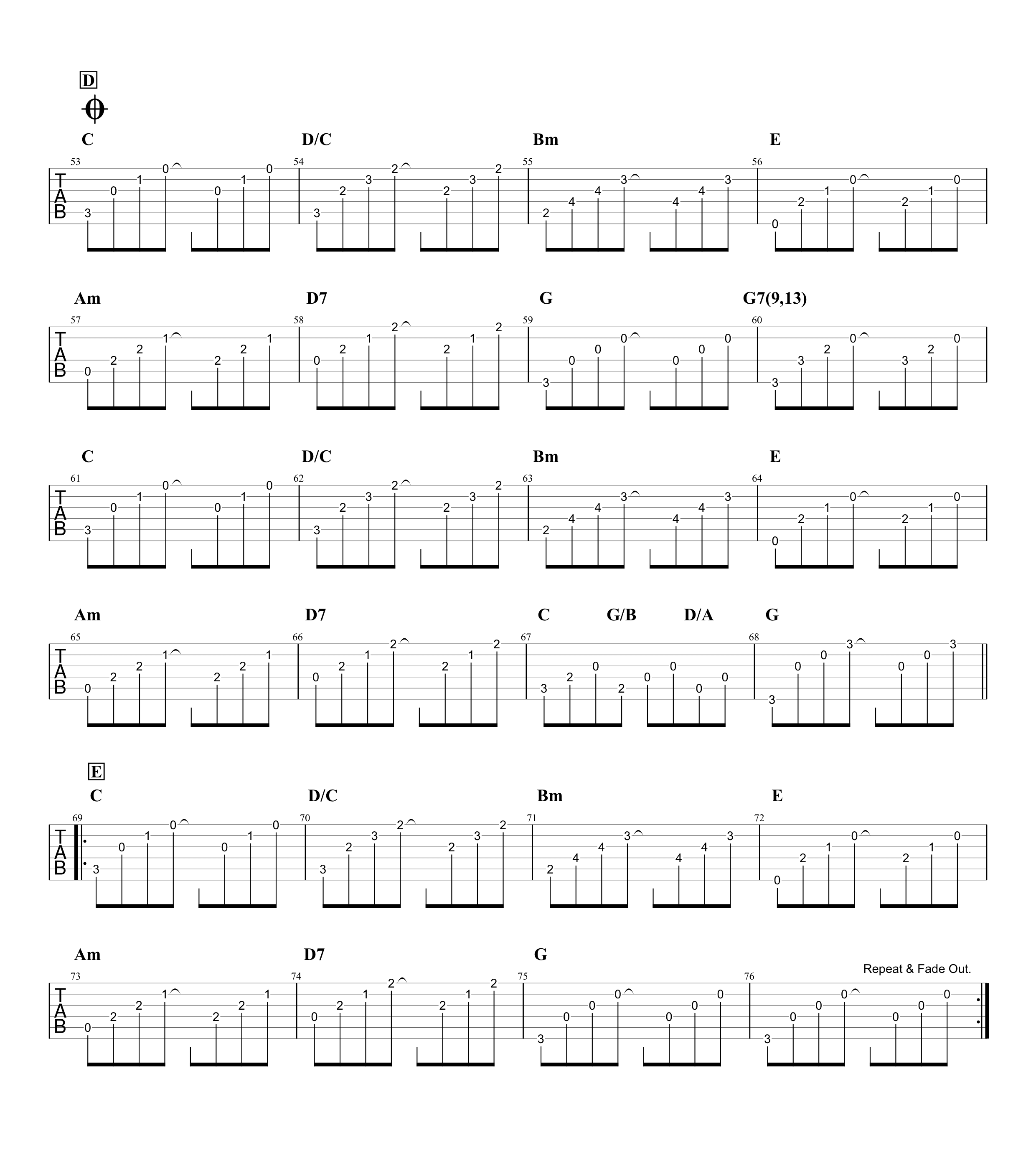 サボテンの花/チューリップ ギタータブ譜 アルペジオざっくりコピーVer.03