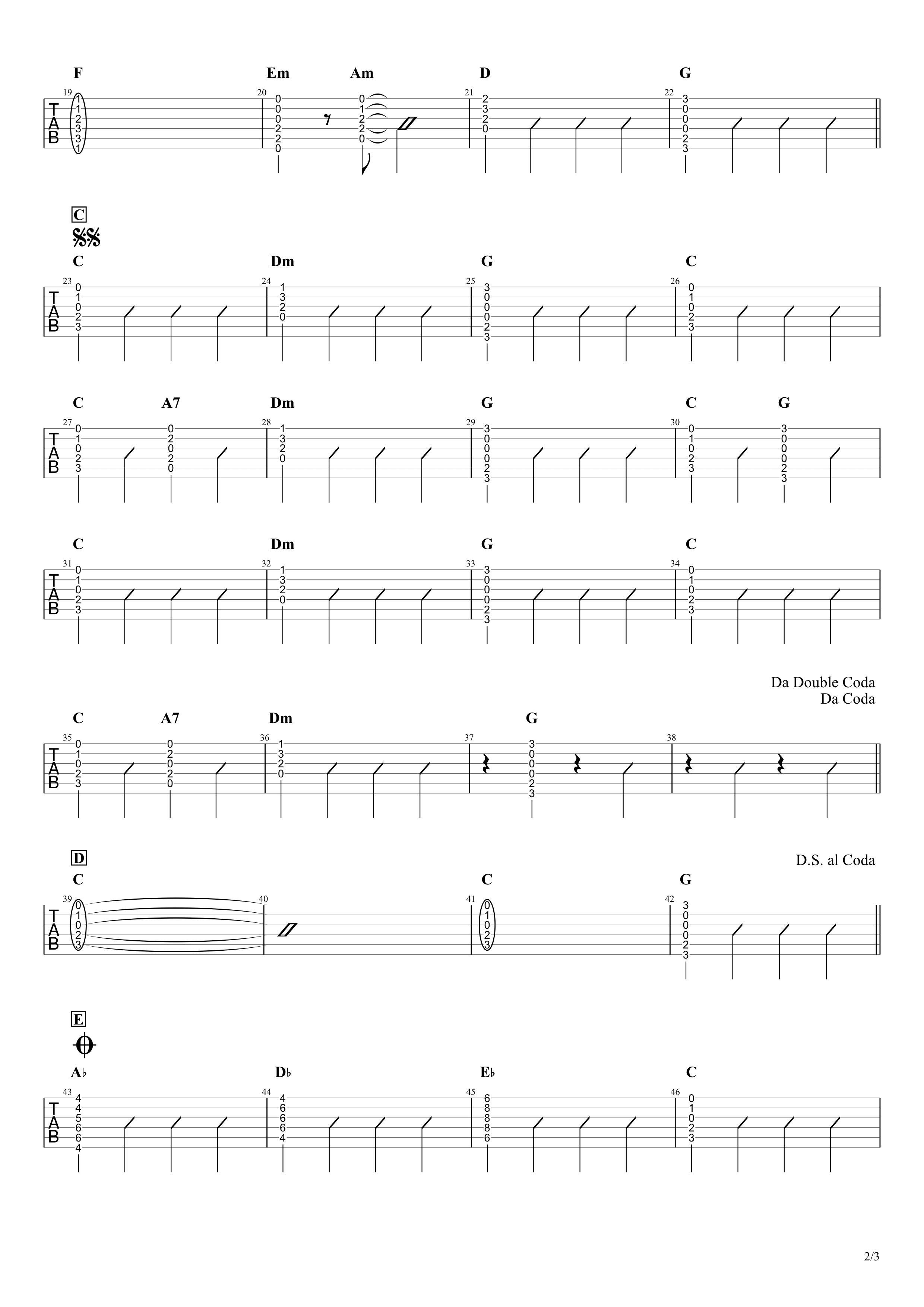 夢をかなえてドラえもん/mao ギタータブ譜 簡単コードアレンジVer.02