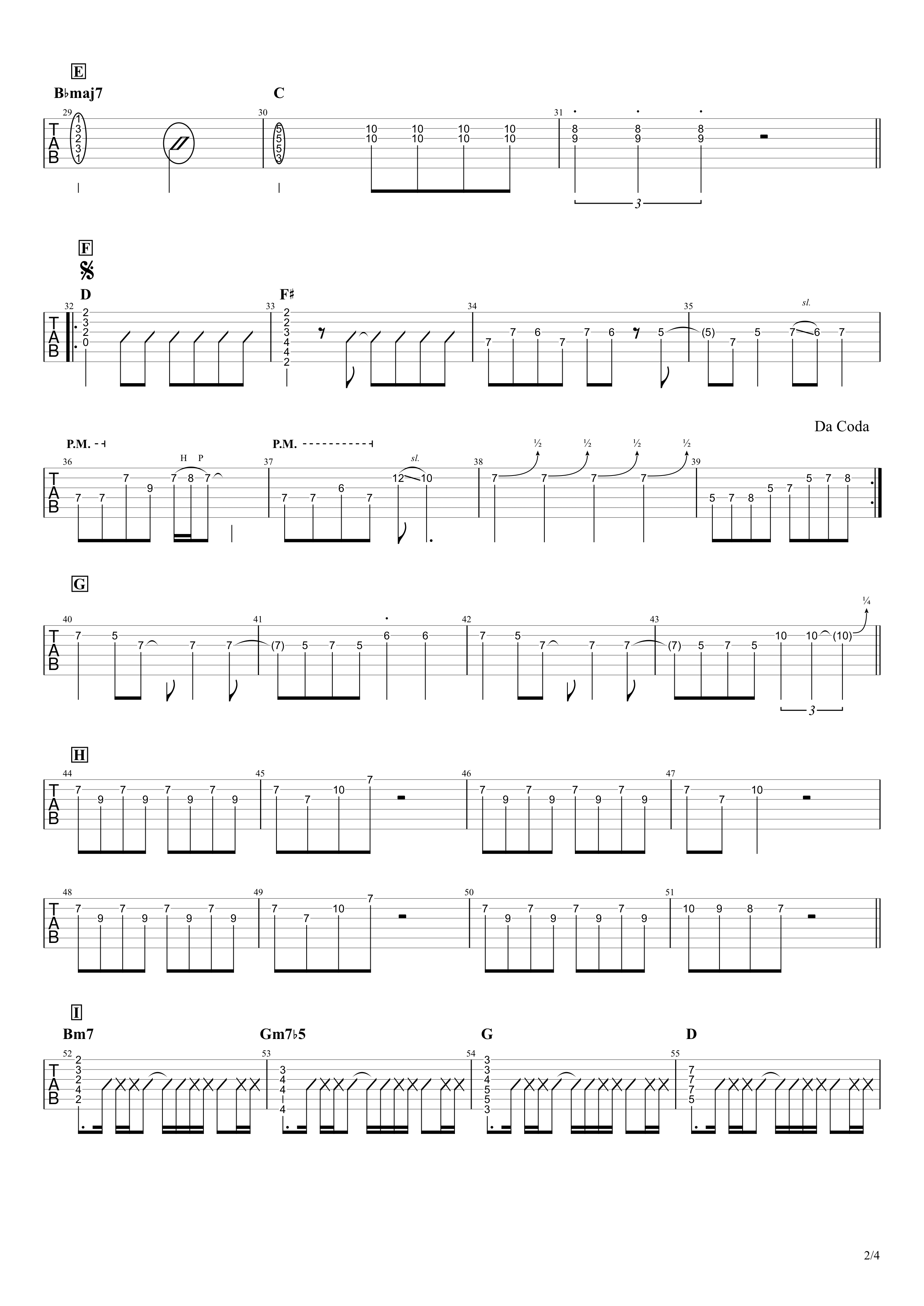 センチメートル/the peggies ギタータブ譜 リードパート簡単アレンジVer.02