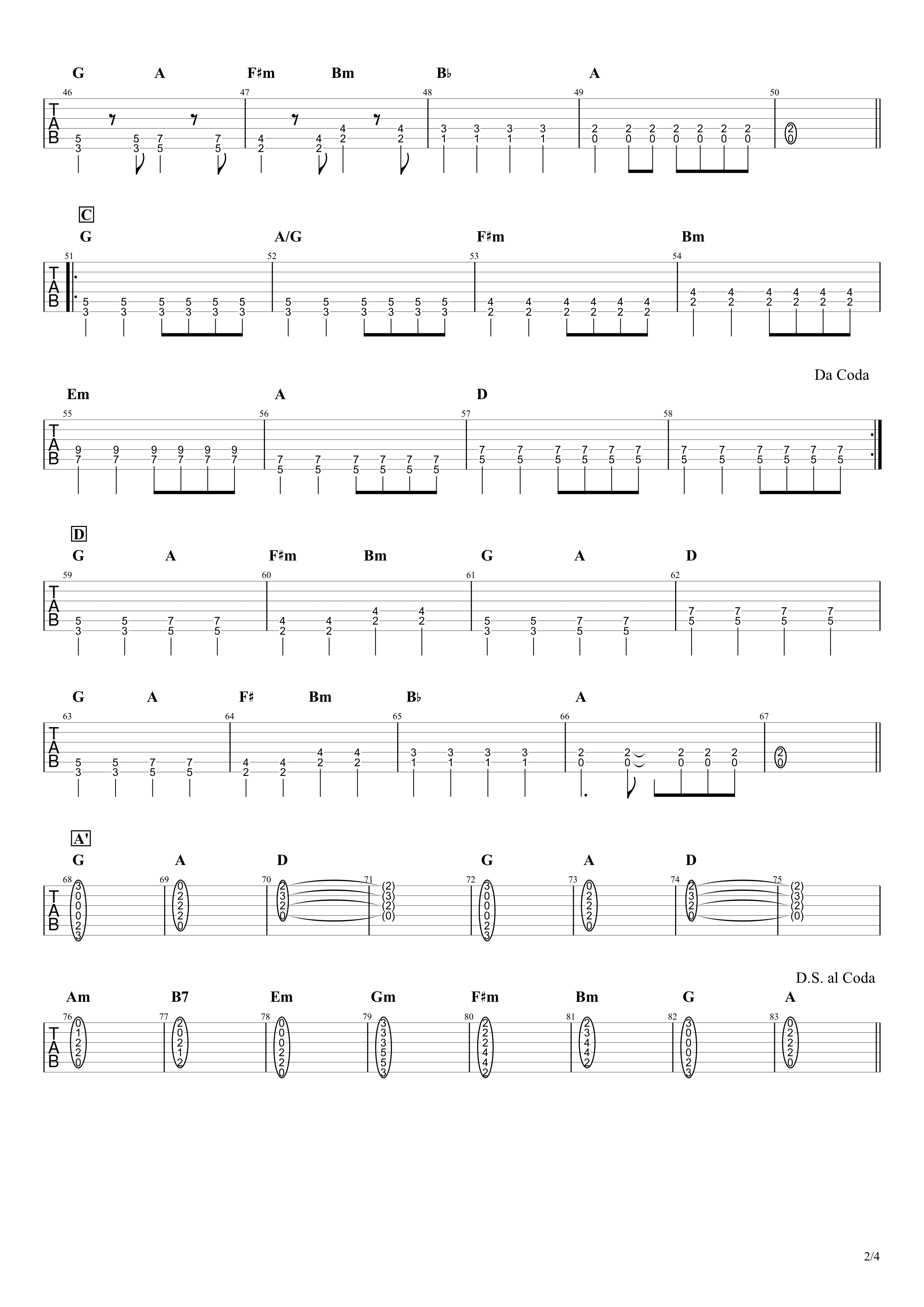気まぐれロマンティック/いきものがかり ギタータブ譜 パワーコードと通常コードで弾くVer.02