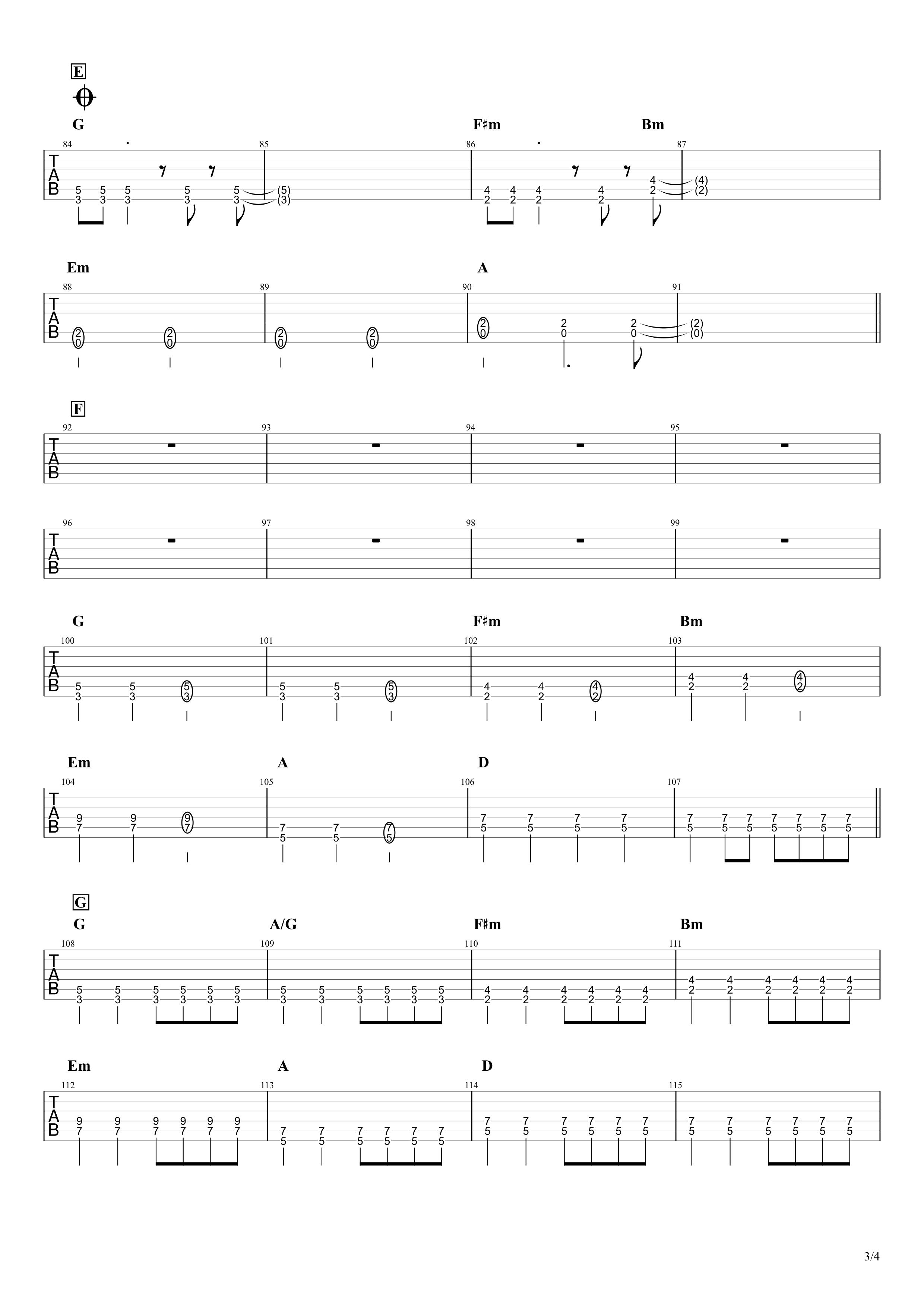 気まぐれロマンティック/いきものがかり ギタータブ譜 パワーコードと通常コードで弾くVer.03