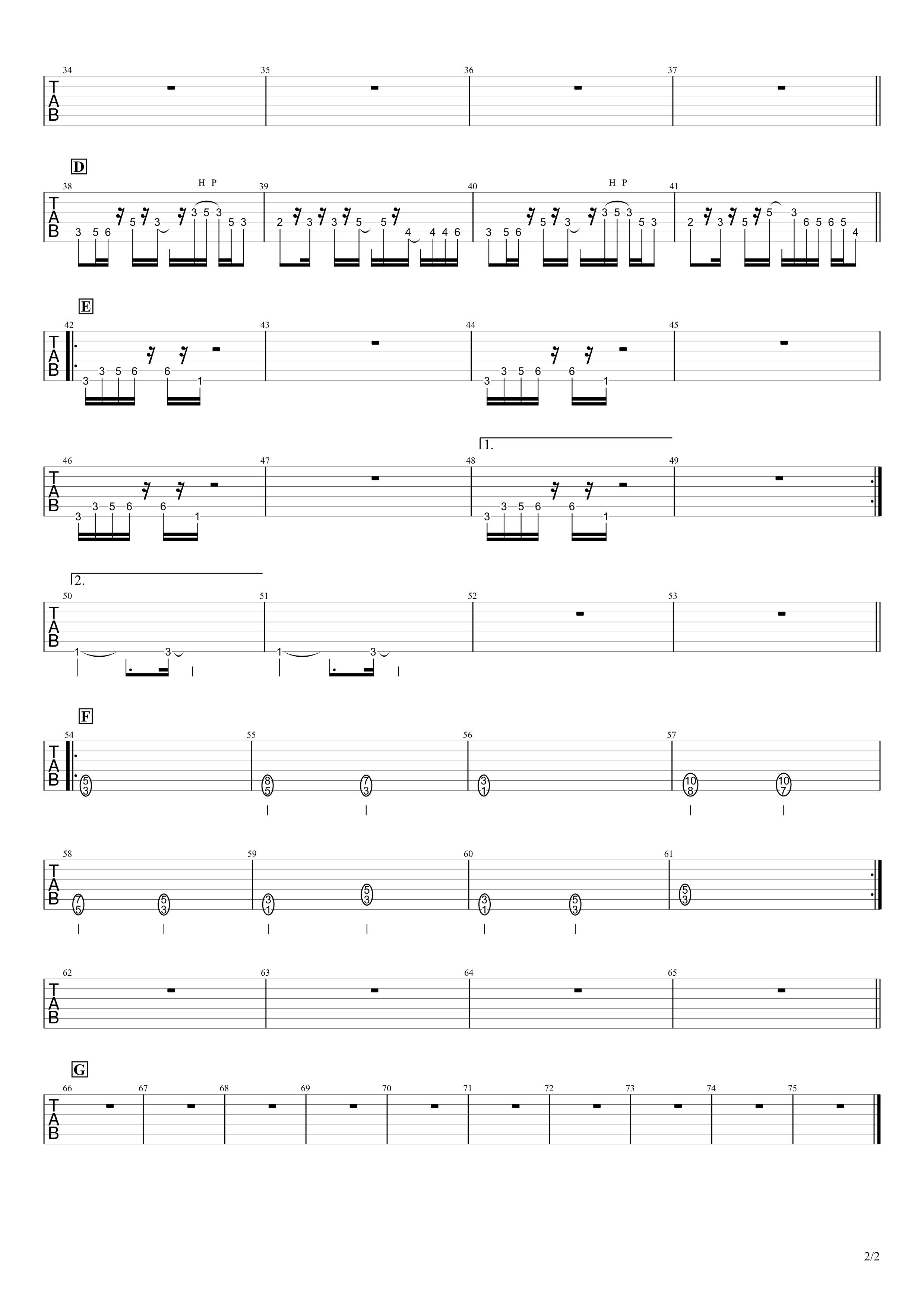 迷える羊/米津玄師 ギタータブ譜 イントロリードギター完コピVer.02