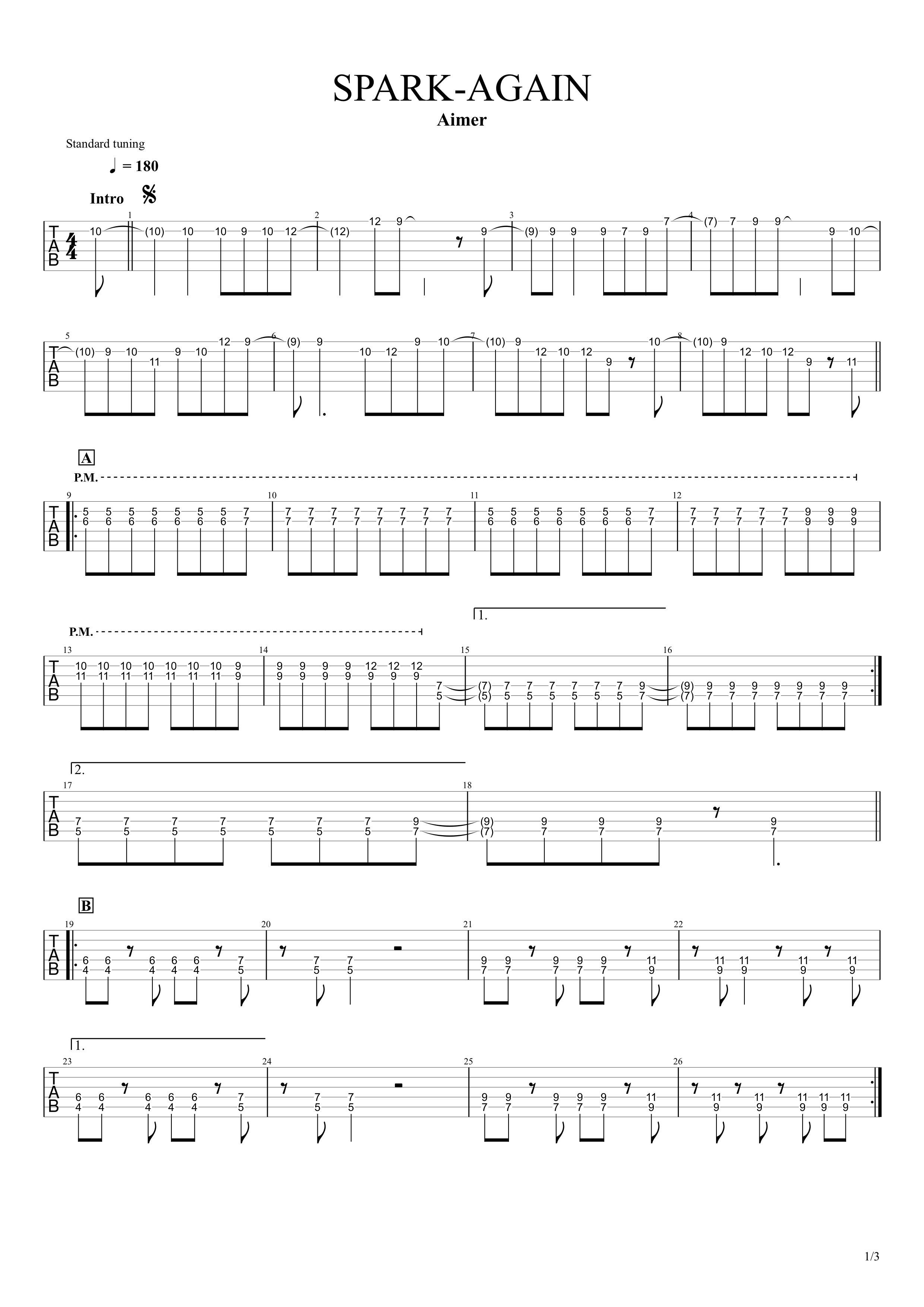 SPARK-AGAIN/Aimer ギタータブ譜 イントロリード&パワーコードで弾くアレンジVer.01