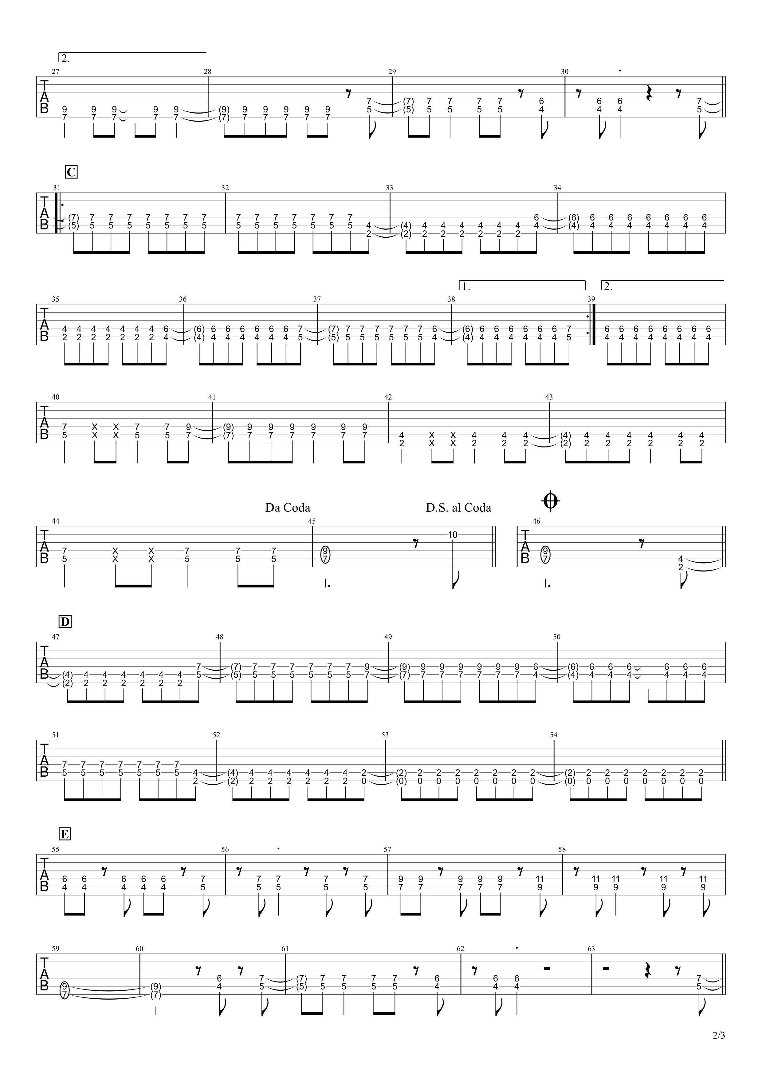SPARK-AGAIN/Aimer ギタータブ譜 イントロリード&パワーコードで弾くアレンジVer.02