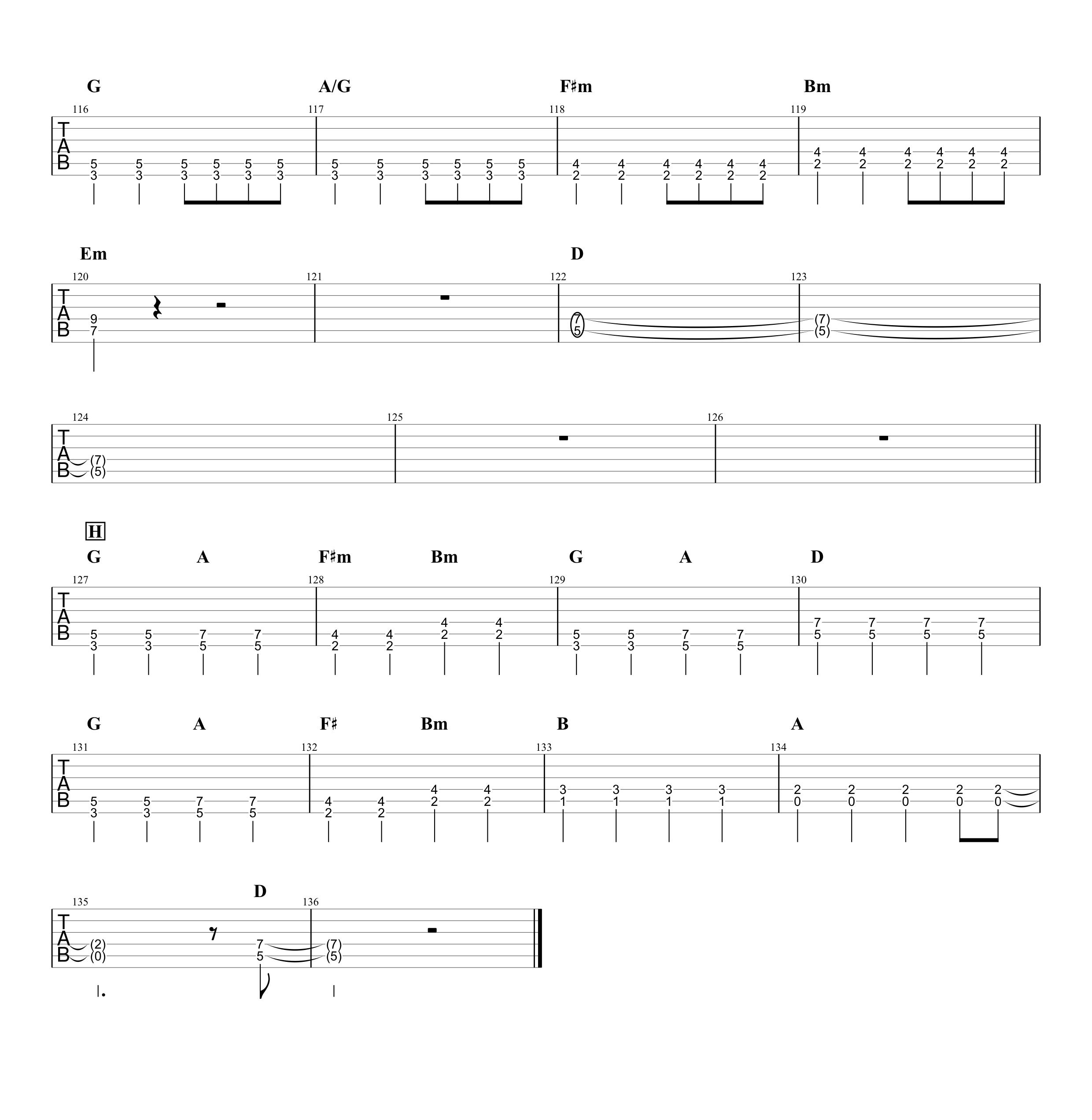 気まぐれロマンティック/いきものがかり ギタータブ譜 パワーコードと通常コードで弾くVer.04