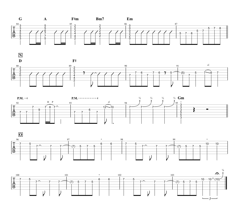 センチメートル/the peggies ギタータブ譜 リードパート簡単アレンジVer.04