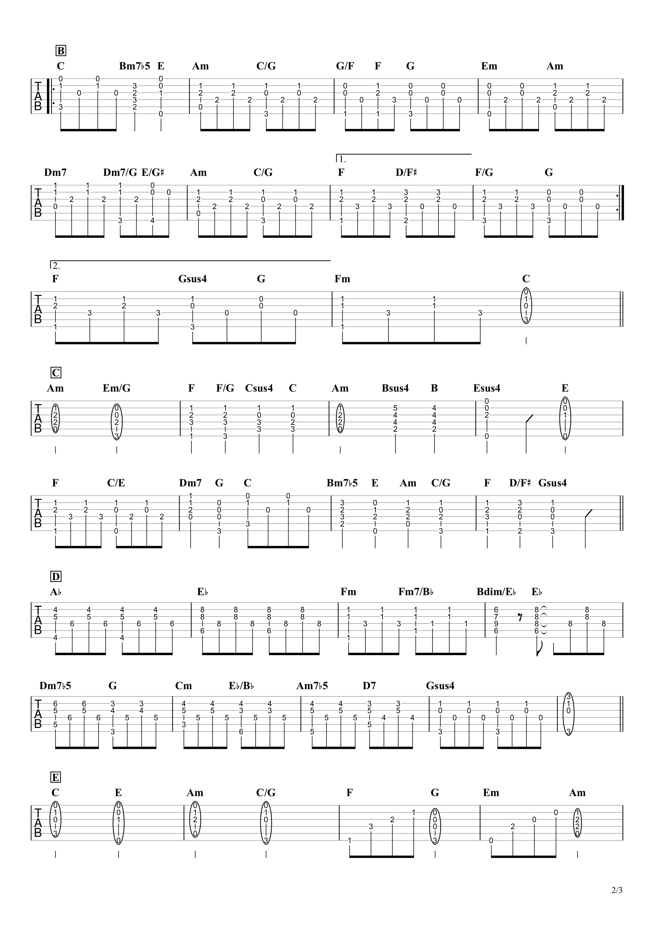 いのちの歌/茉奈佳奈 ギタータブ譜 イントロメロディー&アルペジオで弾くVer.02