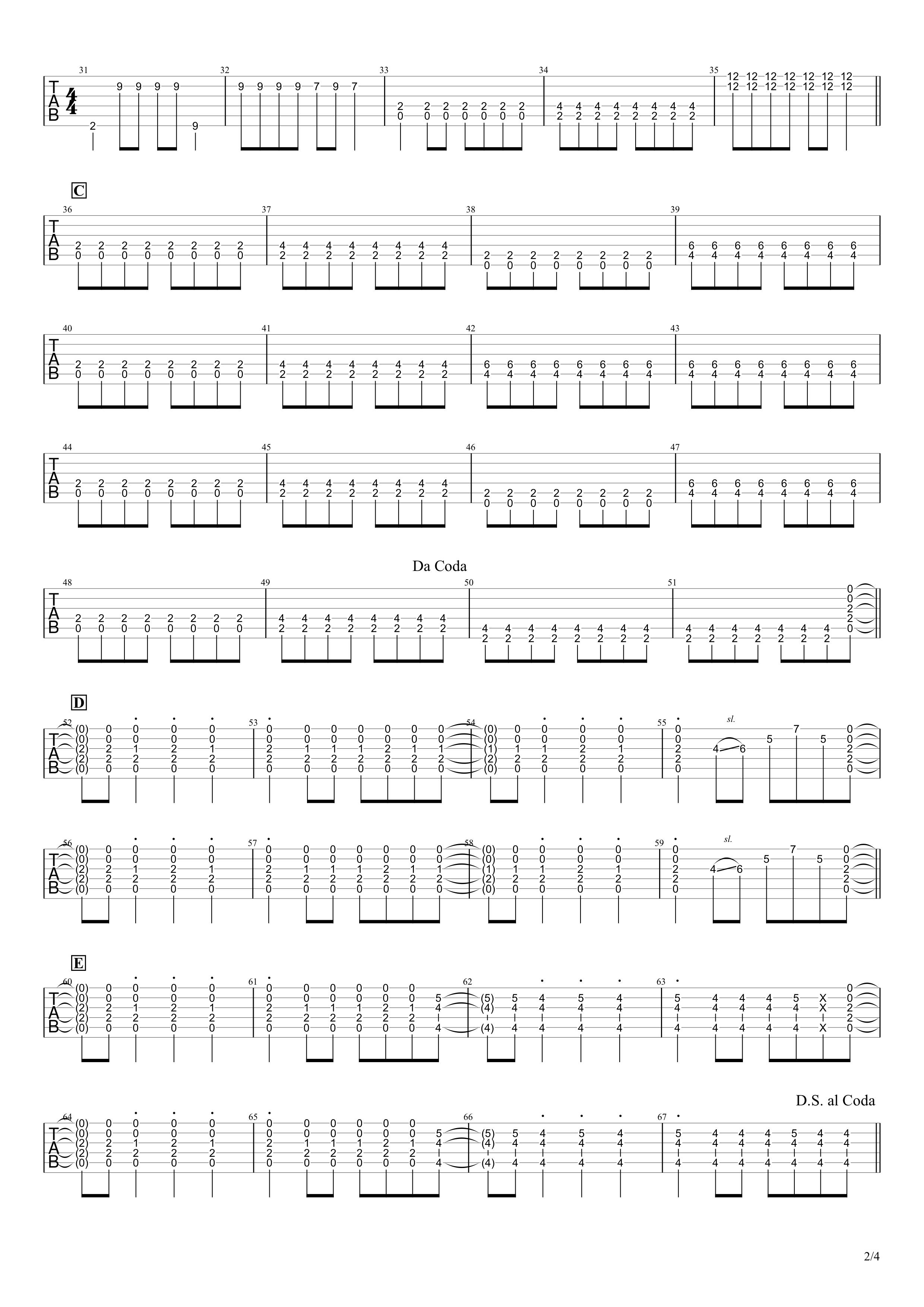 キミシダイ列車/ONE OK ROCK ギタータブ譜 リードギターほぼ完コピVer.02