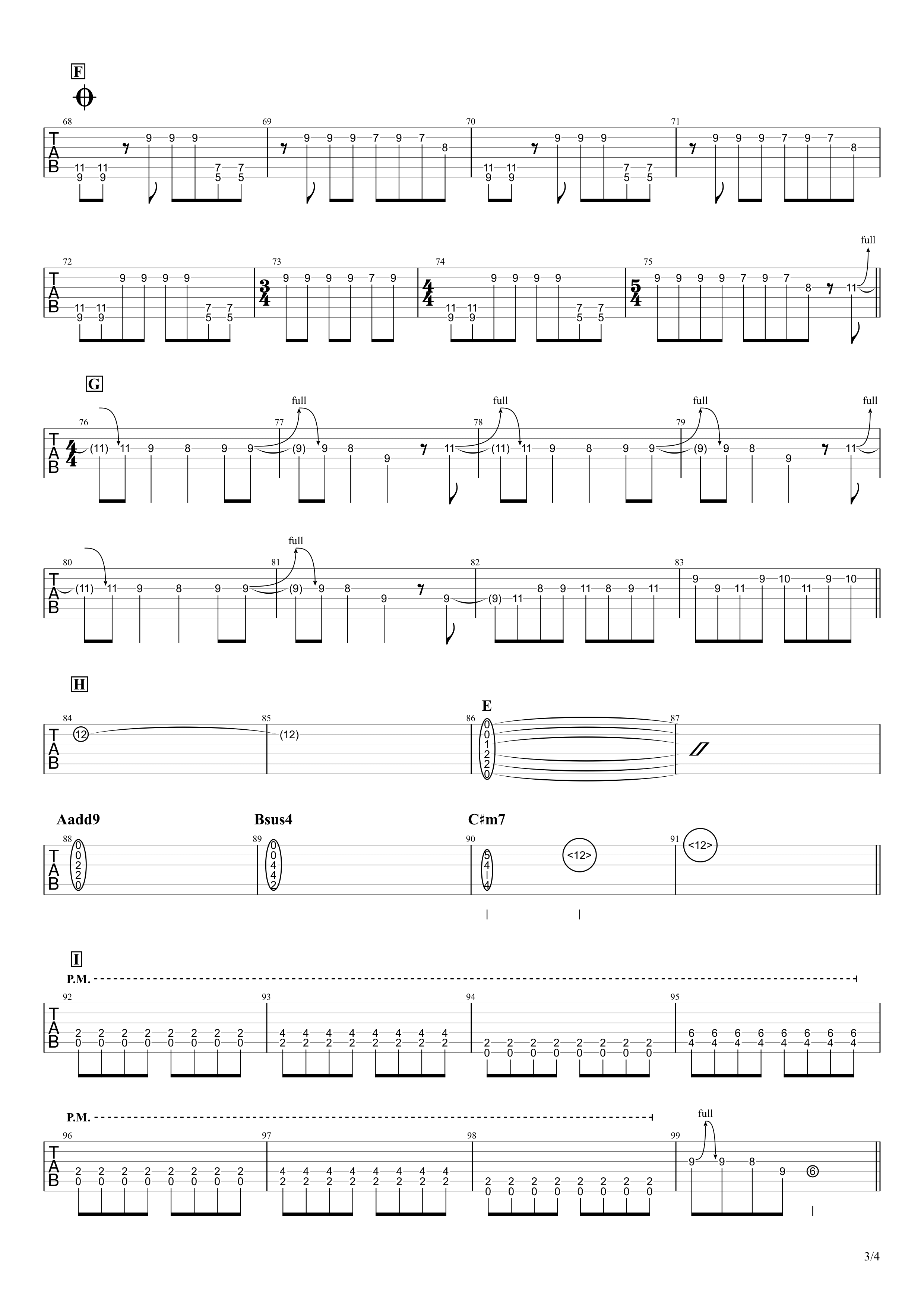 キミシダイ列車/ONE OK ROCK ギタータブ譜 リードギターほぼ完コピVer.03