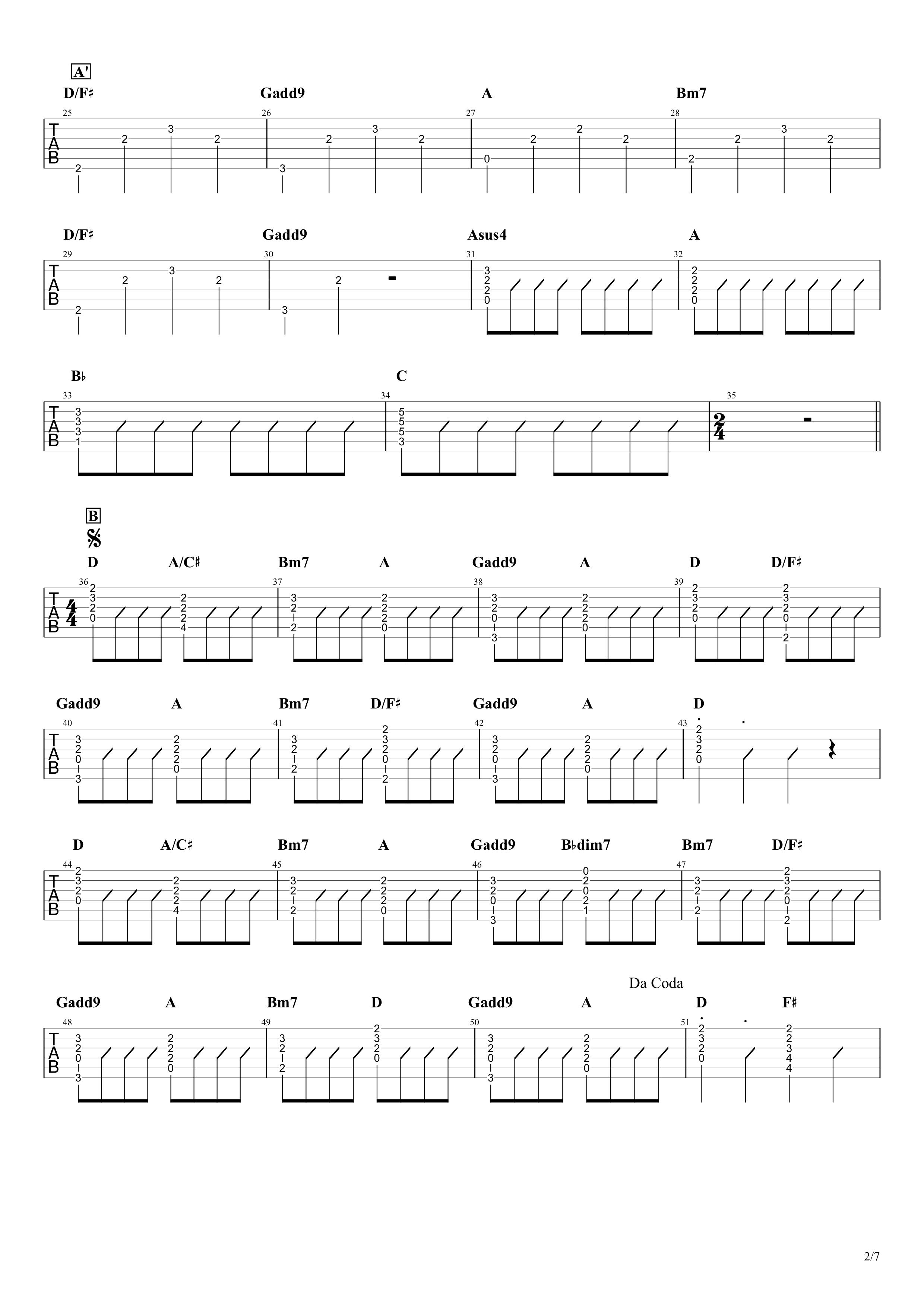 青と夏/Mrs. GREEN APPLE ギタータブ譜 イントロリード&コードメインで弾くVer.02