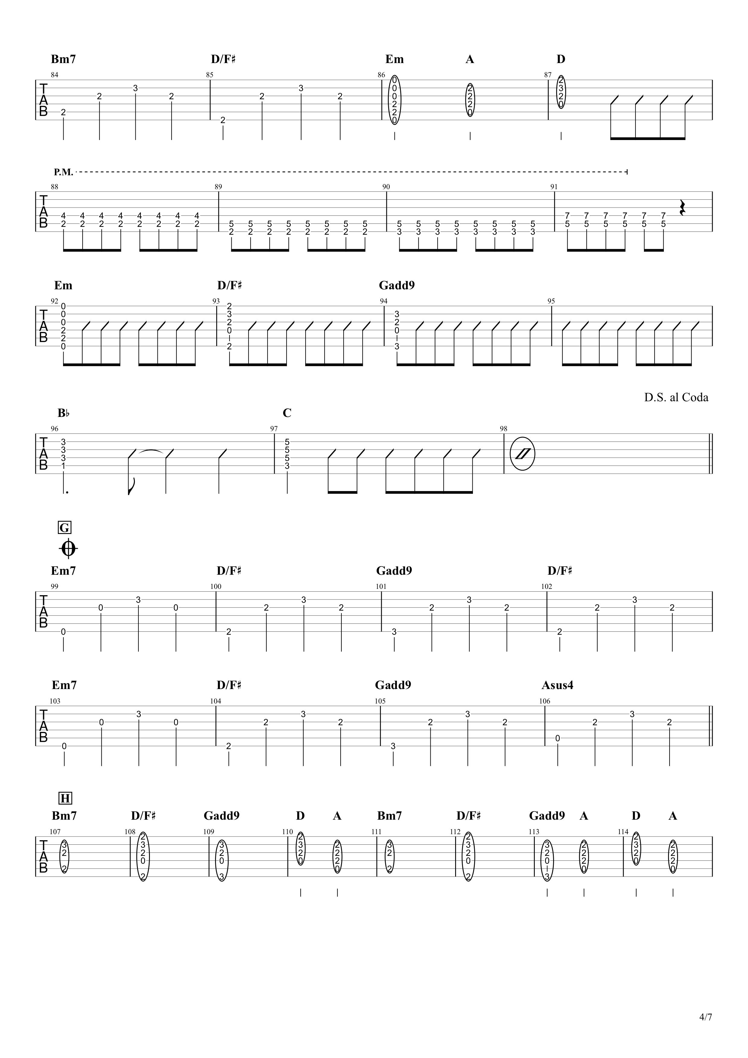青と夏/Mrs. GREEN APPLE ギタータブ譜 イントロリード&コードメインで弾くVer.04