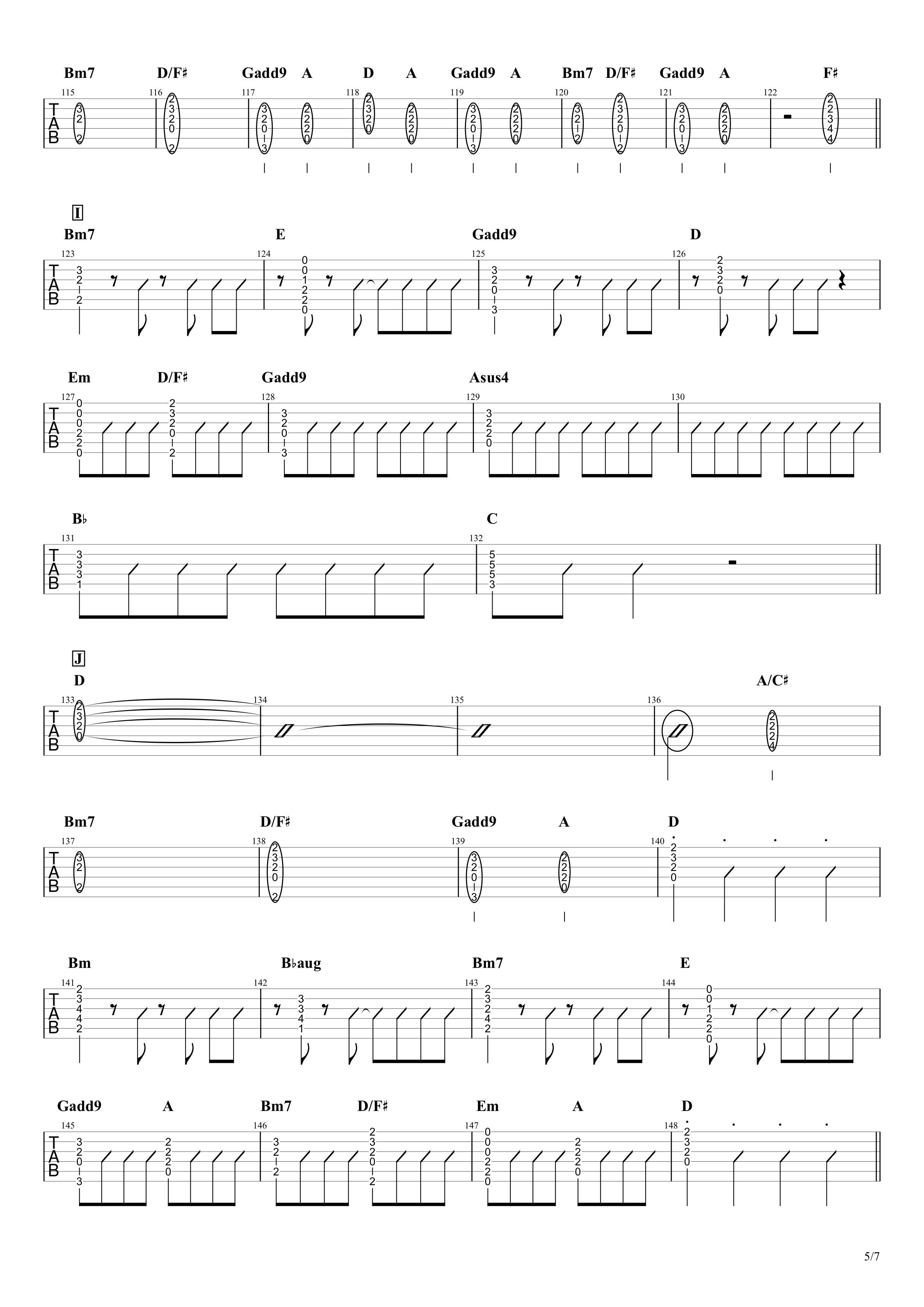 青と夏/Mrs. GREEN APPLE ギタータブ譜 イントロリード&コードメインで弾くVer.05