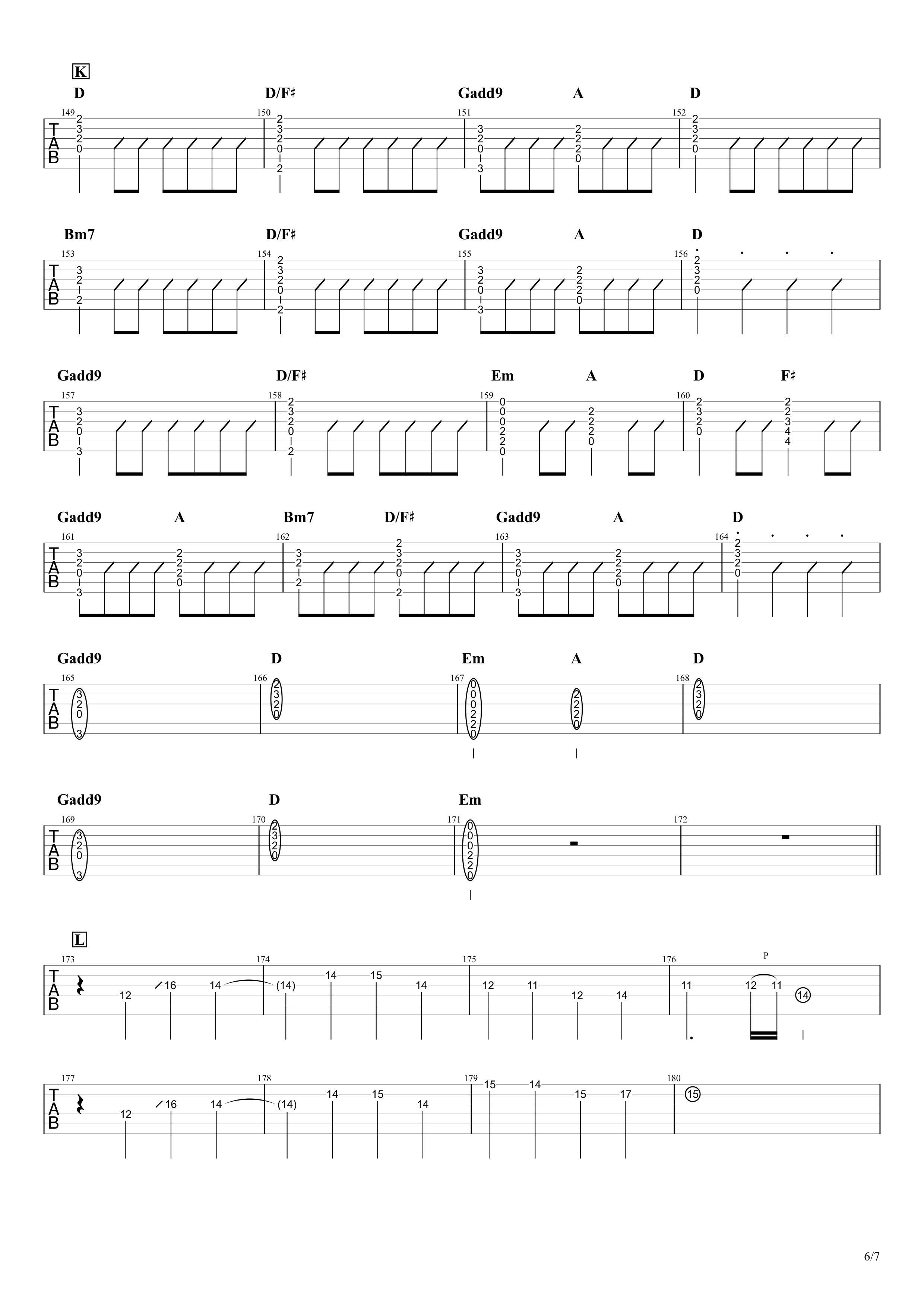 青と夏/Mrs. GREEN APPLE ギタータブ譜 イントロリード&コードメインで弾くVer.06