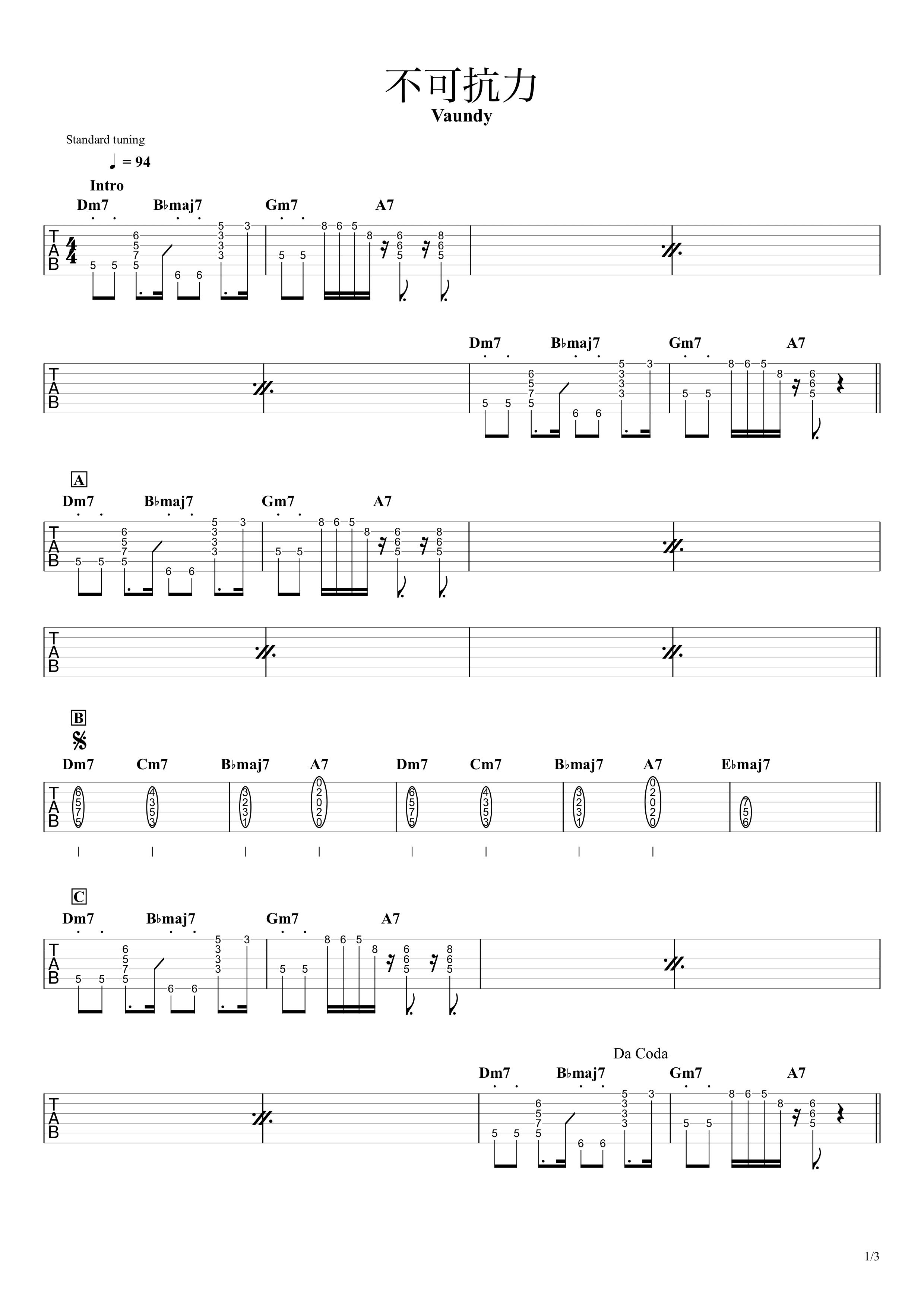 不可抗力/Vaundy ギタータブ譜 Key再現&コードで弾くアレンジVer.01