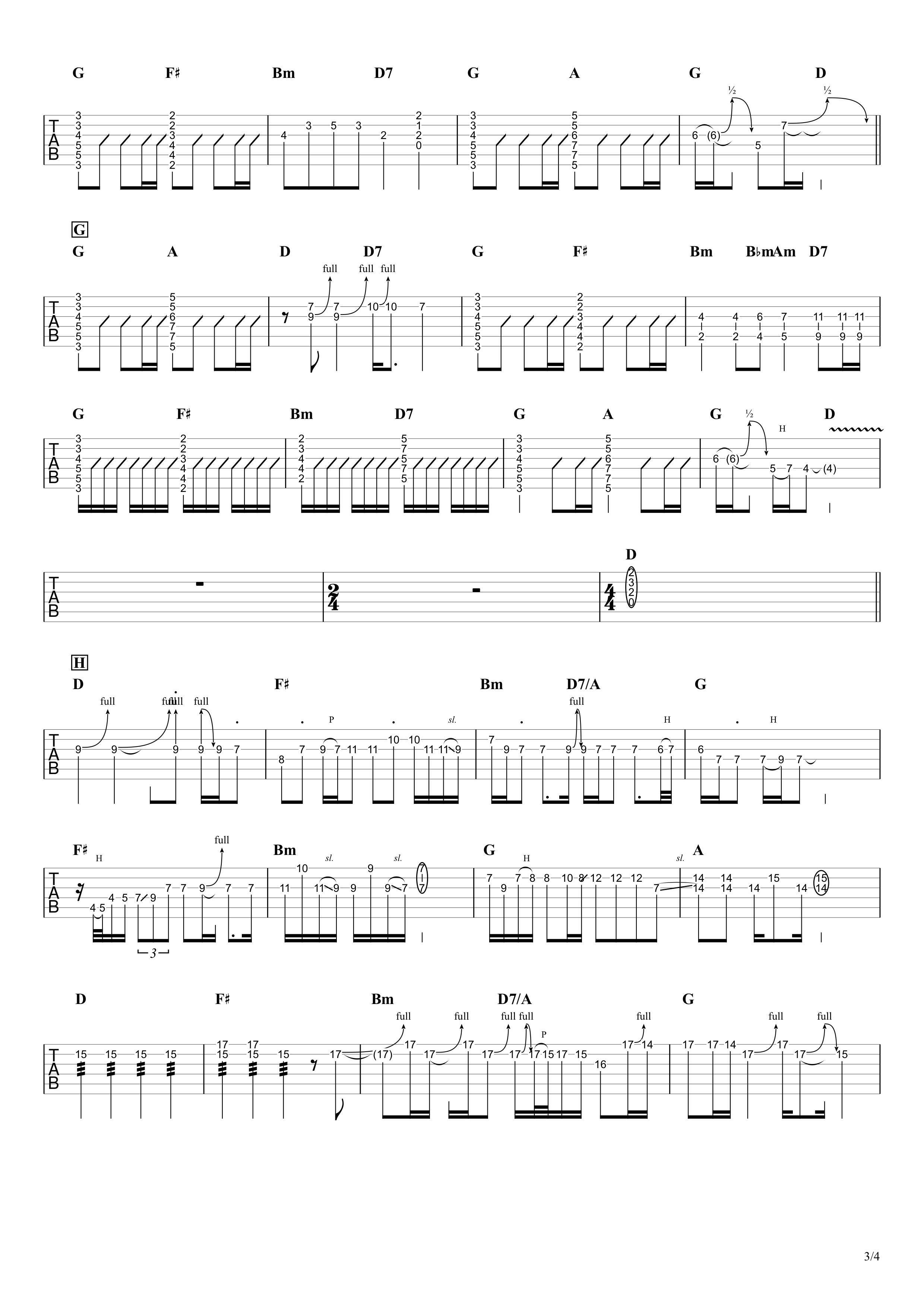 大人になったら/GLIM SPANKEY ギタータブ譜 リードギターほぼ完コピVer.03