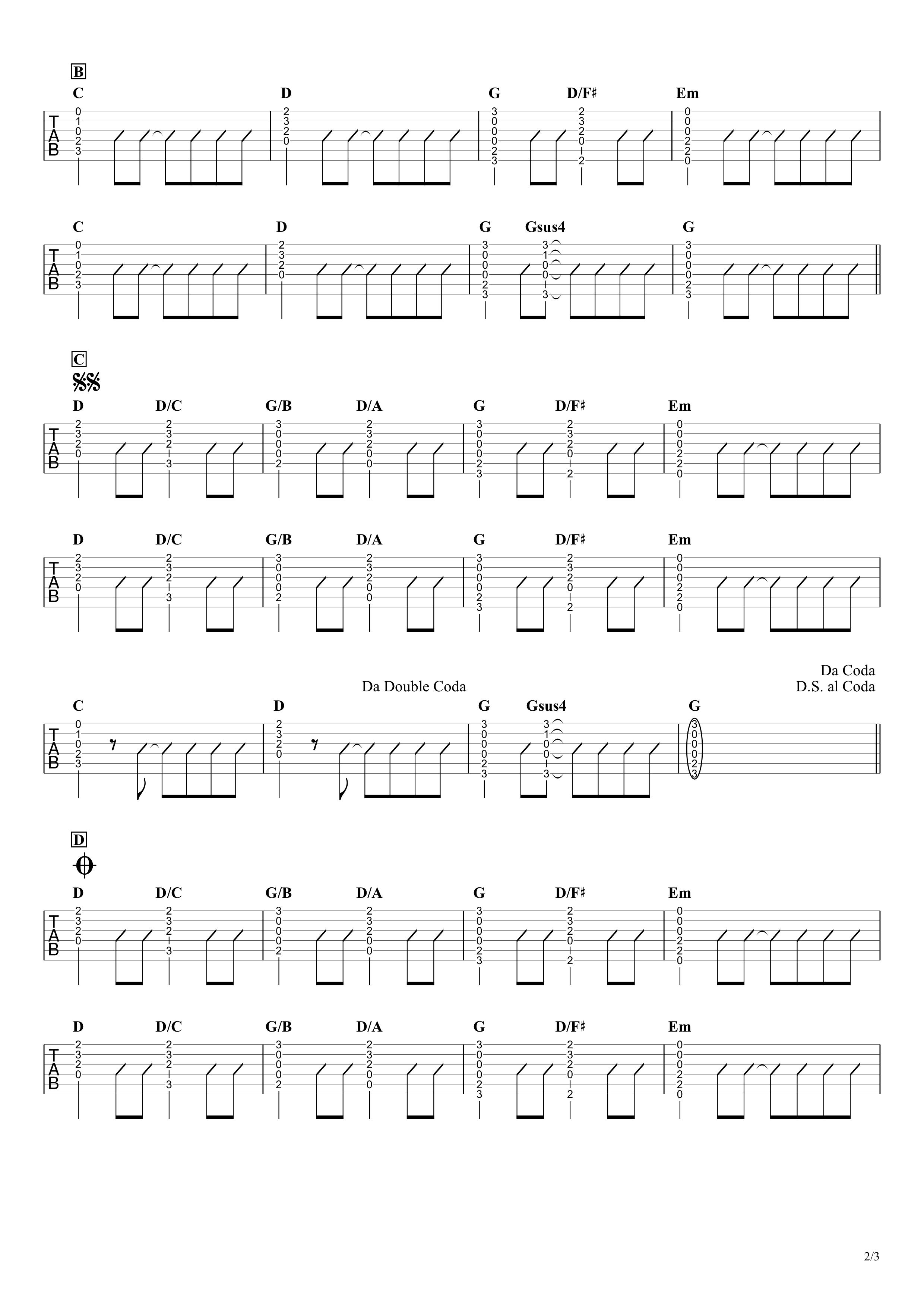 BLUE HEAVEN/サザンオールスターズ ギタータブ譜 コードストロークで弾くVer.02