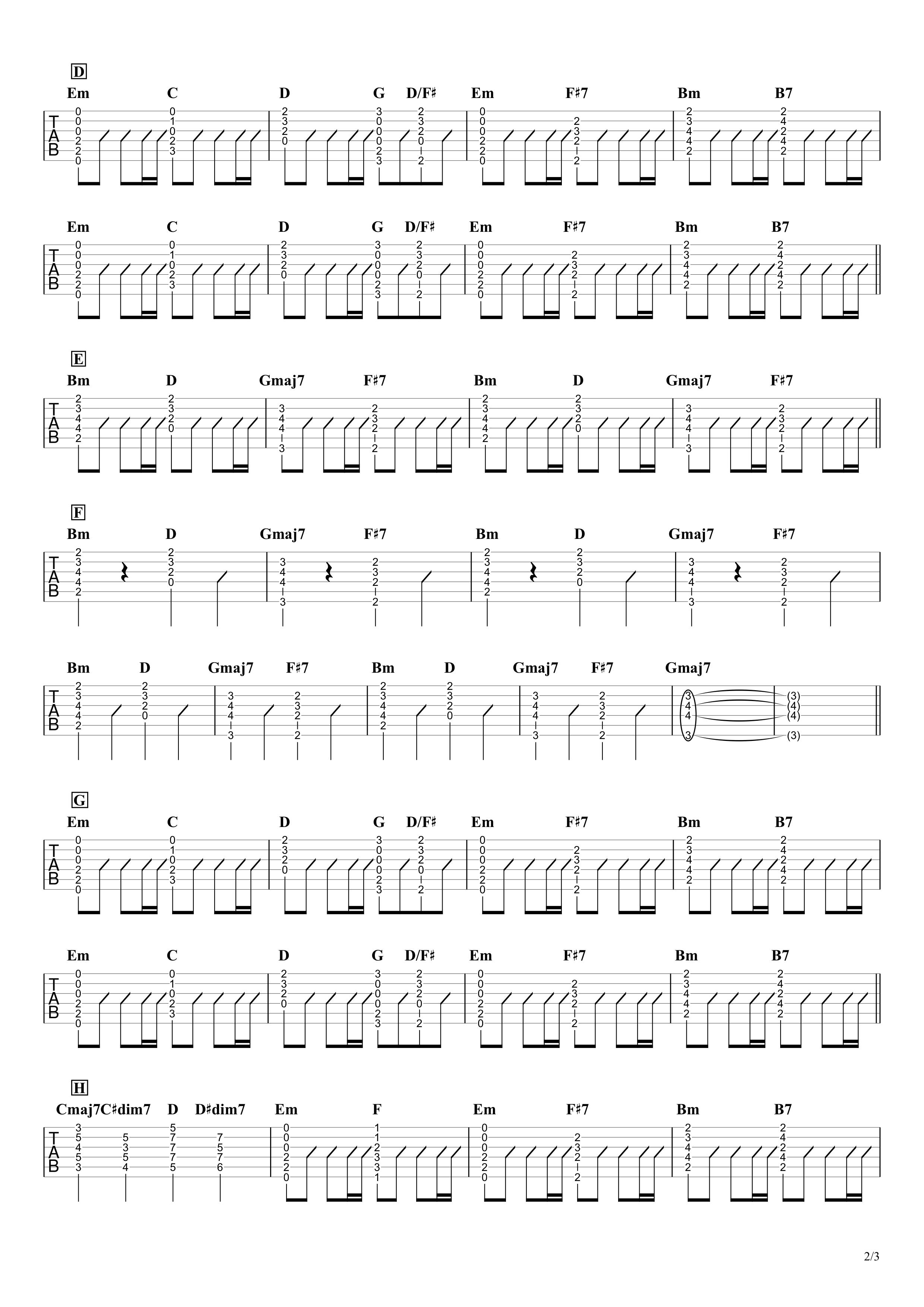 Prayer X/King Gnu ギタータブ譜 コードストローク&アルペジオで弾くVer.02