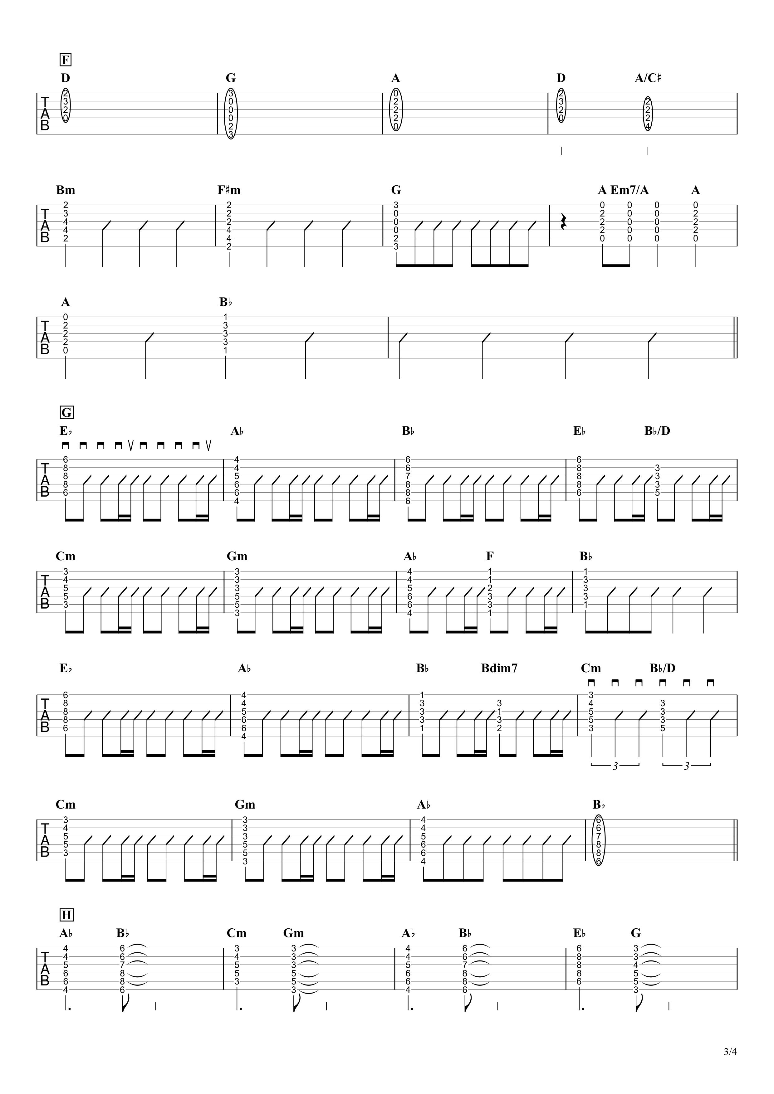 アイノカタチ/MISIA feat.HIDE ギタータブ譜 コードストロークで弾くVer.03