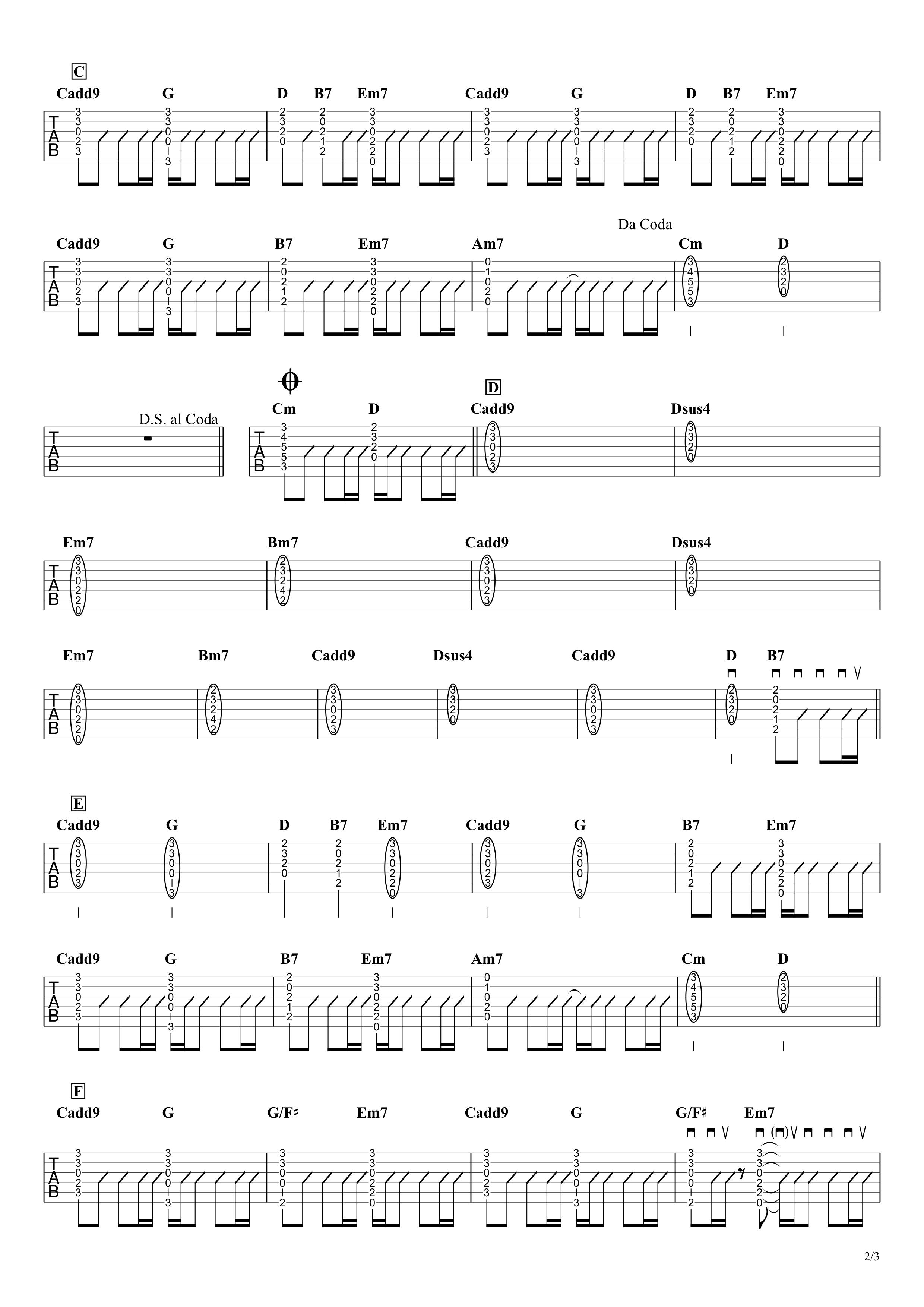 ドライフラワー/優里 ギタータブ譜 コードストロークざっくり完コピVer.02