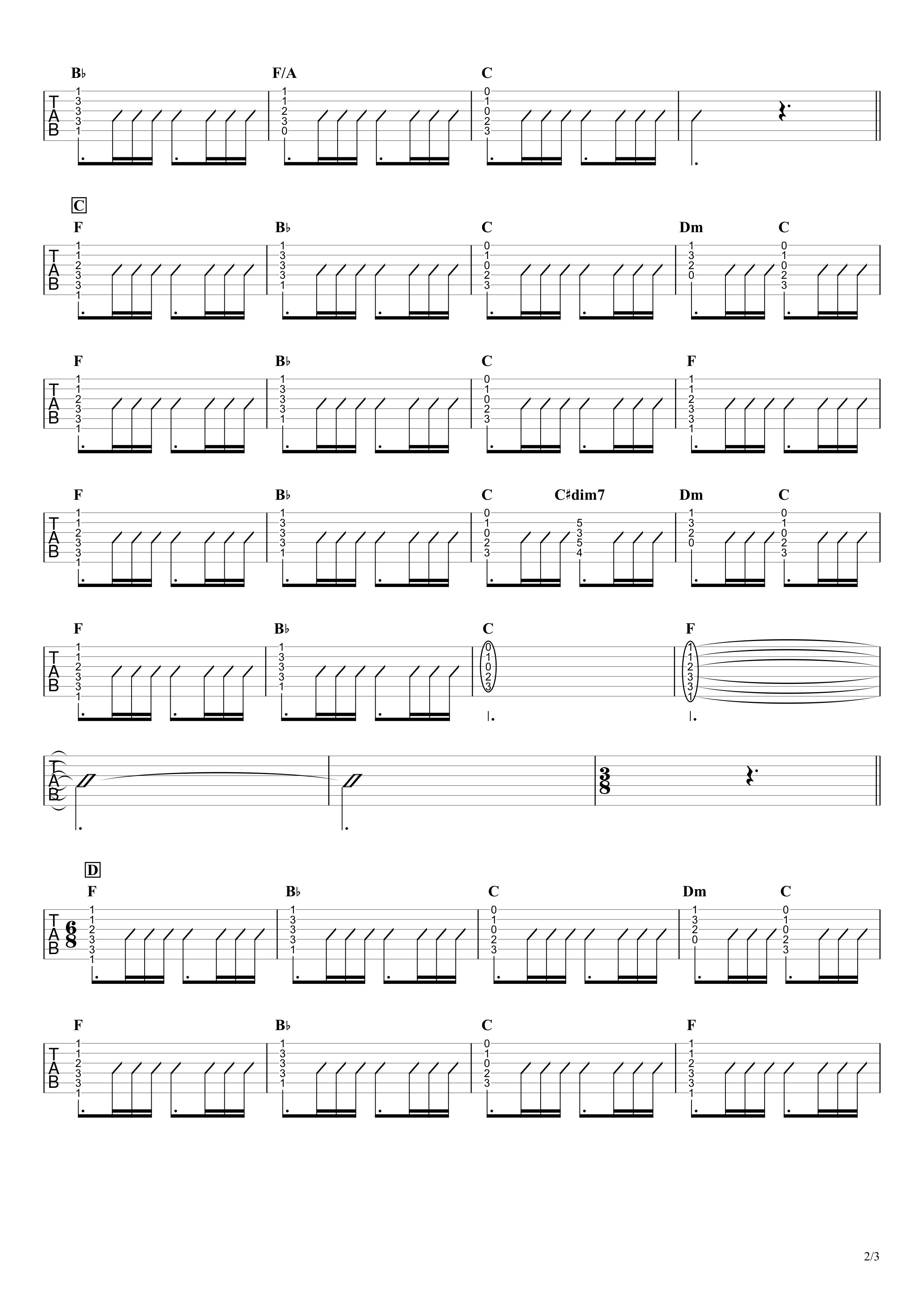 想うた 〜親を想う〜/キヨサク ギタータブ譜 コードストロークで弾くVer.02