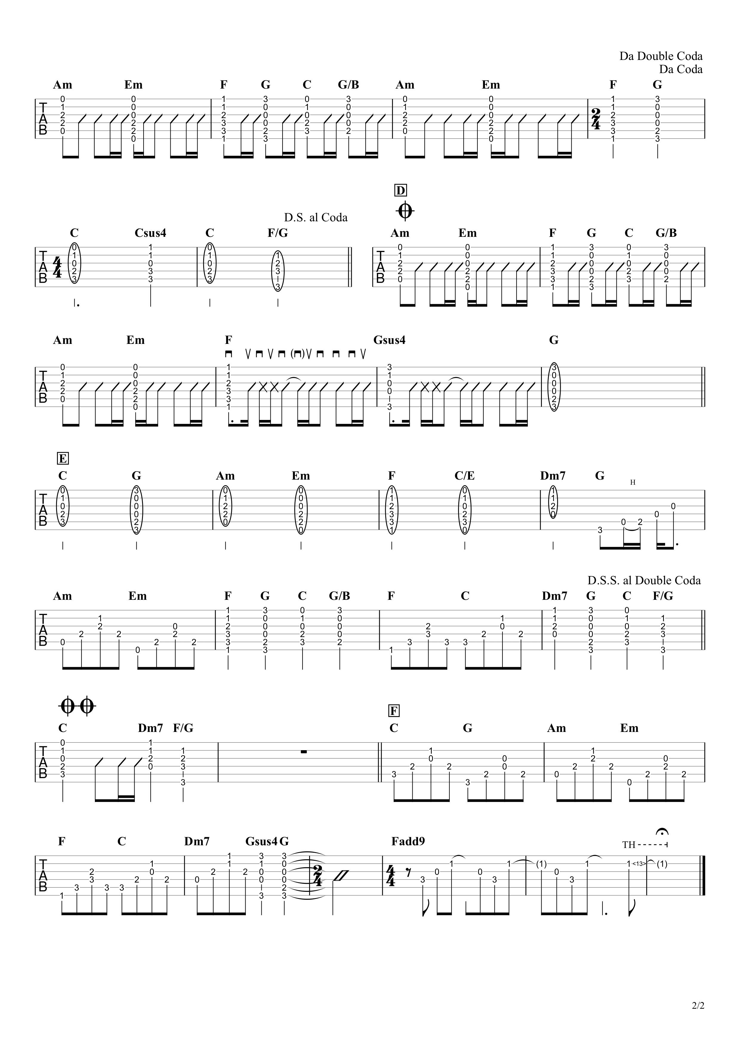 虹/菅田将暉 ギタータブ譜 アルペジオ&コードストロークで弾くVer.02