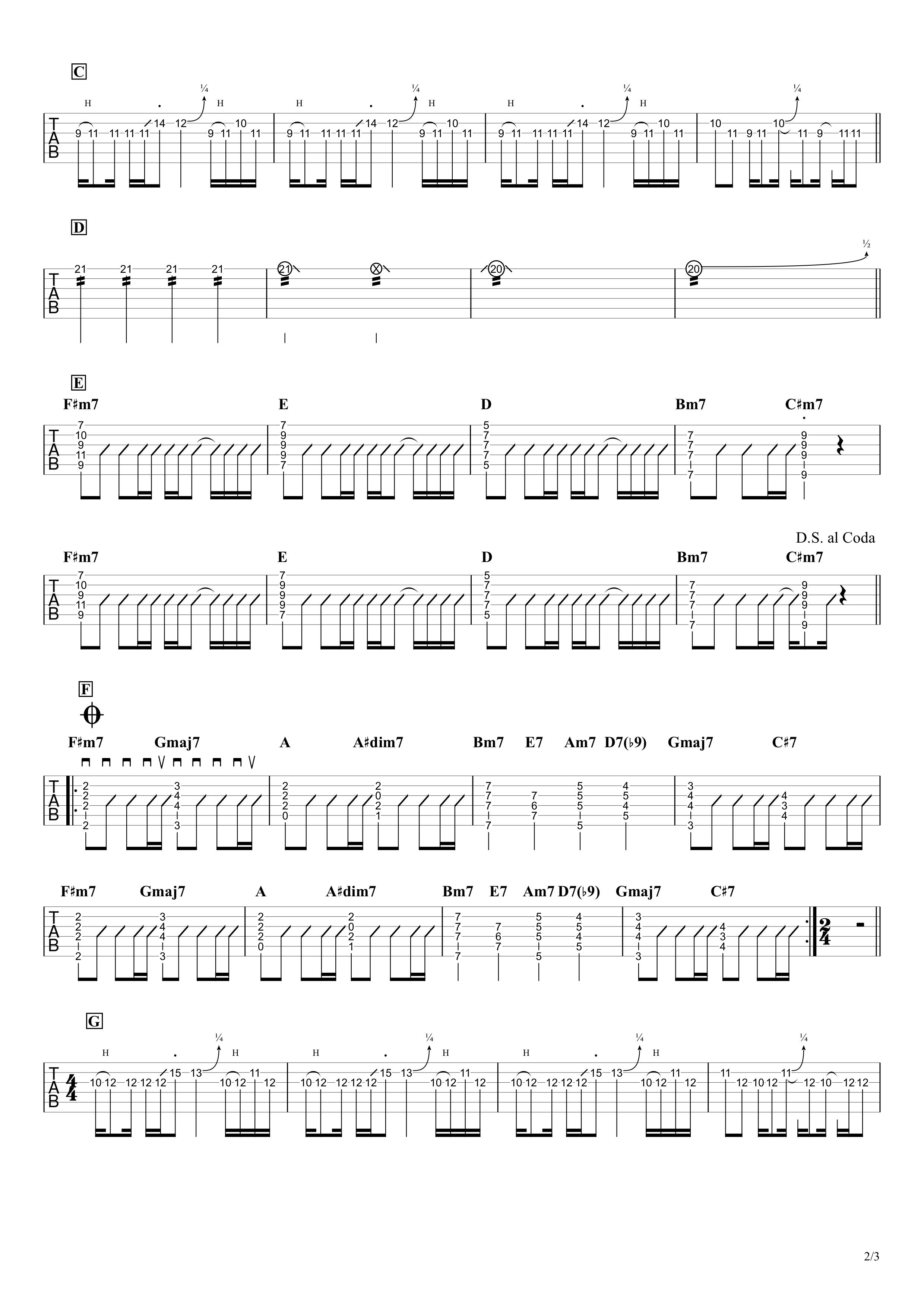飛行艇/King Gnu ギタータブ譜 リードパートざっくり完コピVer.02