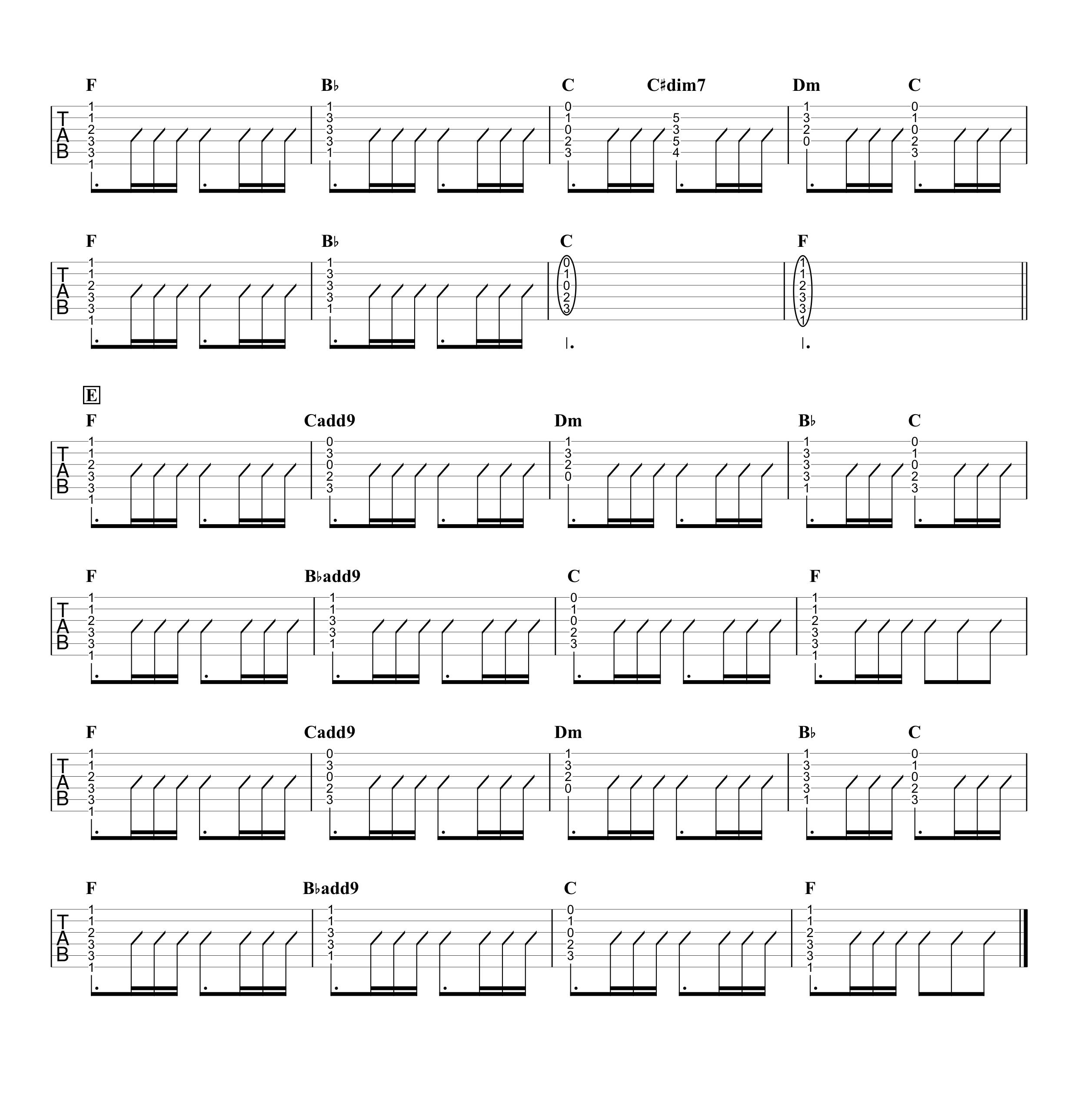 想うた 〜親を想う〜/キヨサク ギタータブ譜 コードストロークで弾くVer.03
