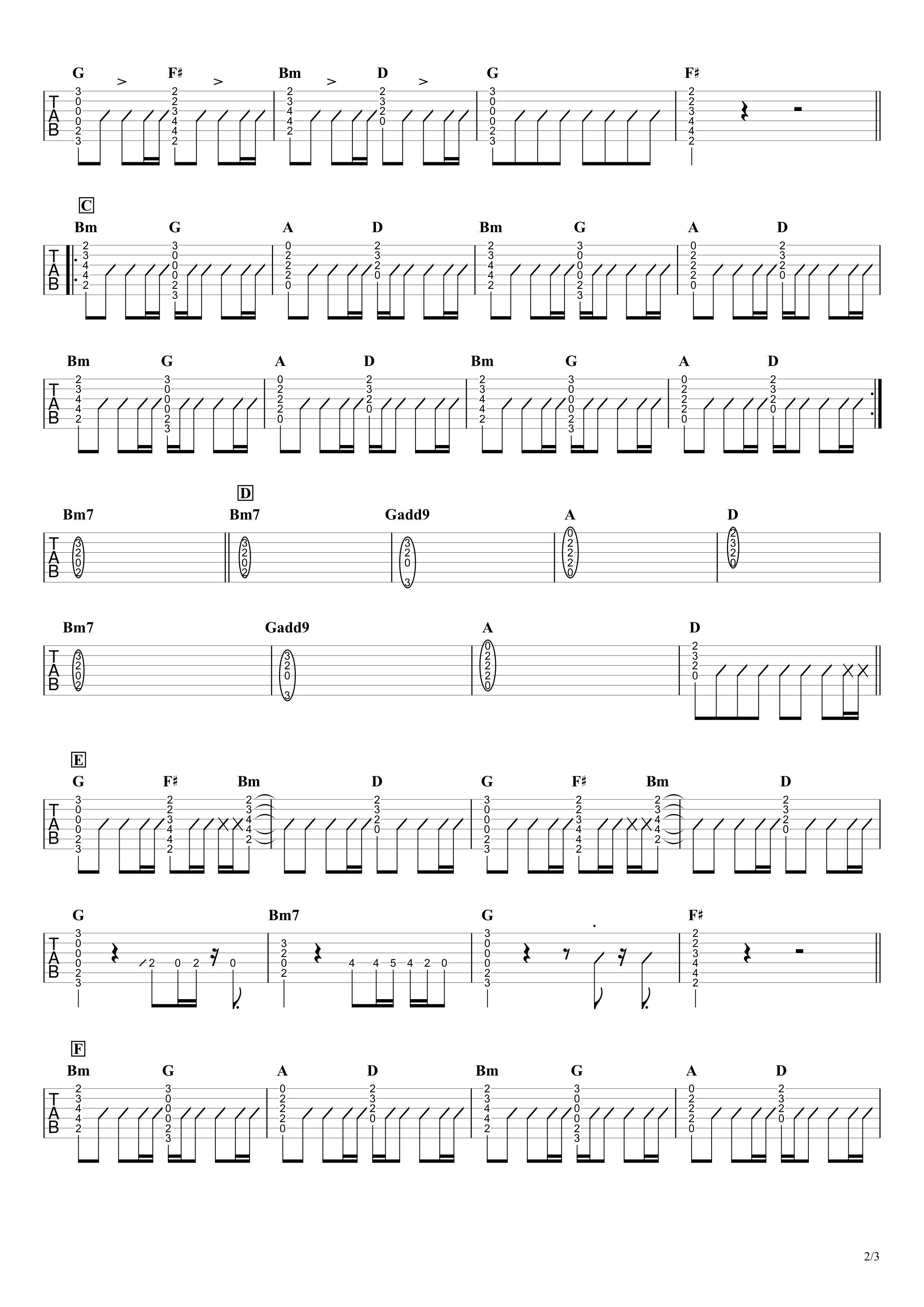 ピーターパン/優里 ギタータブ譜 コードストロークで弾くVer.02