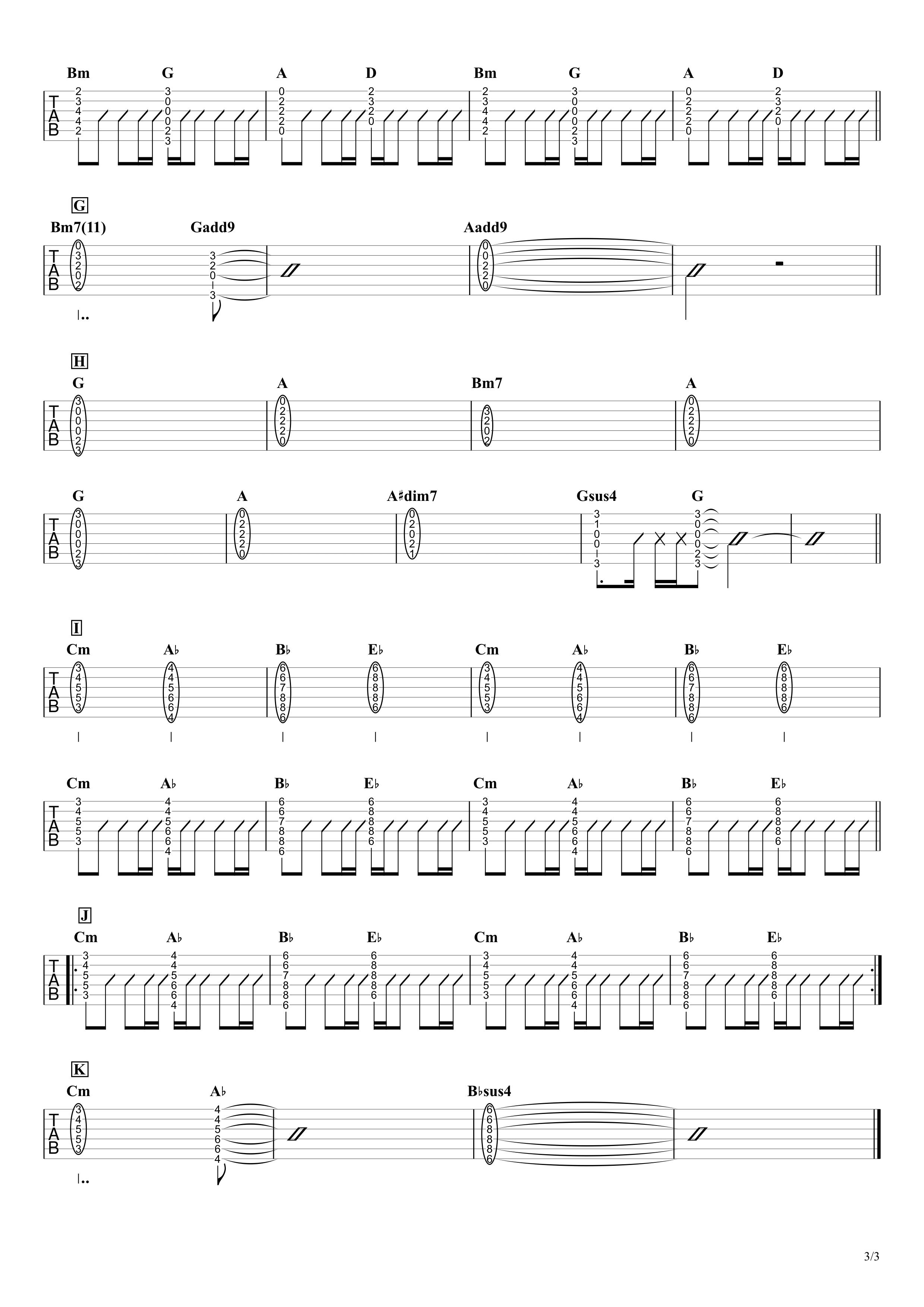 ピーターパン/優里 ギタータブ譜 コードストロークで弾くVer.03