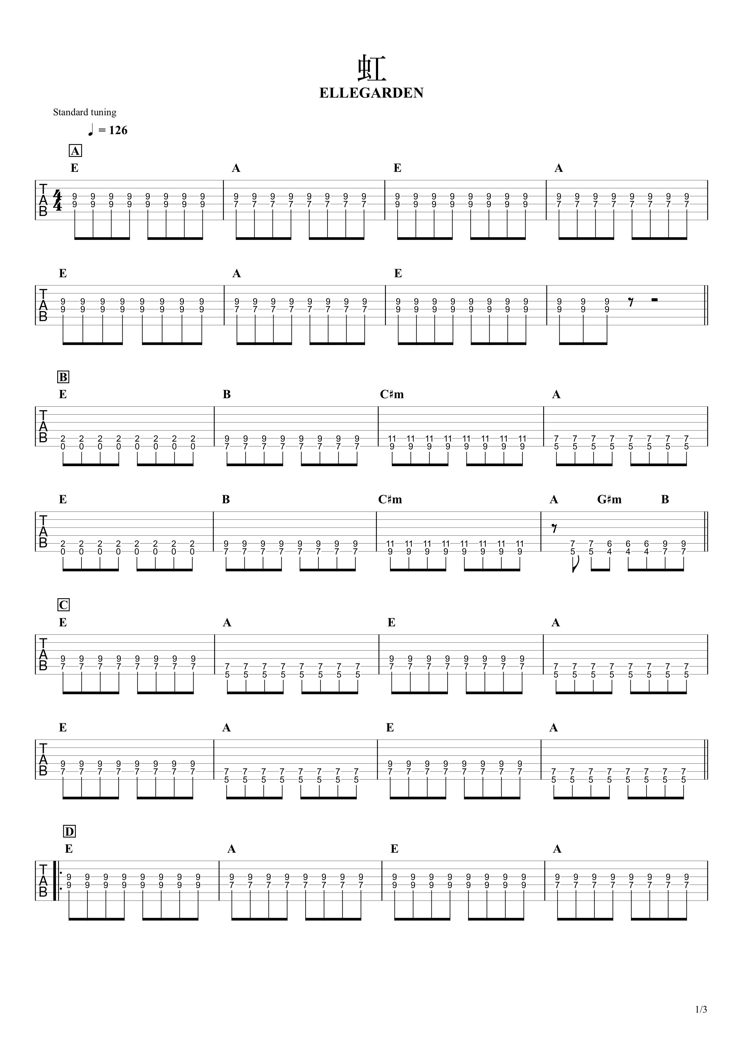 虹/ELLEGARDEN ギタータブ譜 ほぼパワーコードだけの簡単アレンジVer.01
