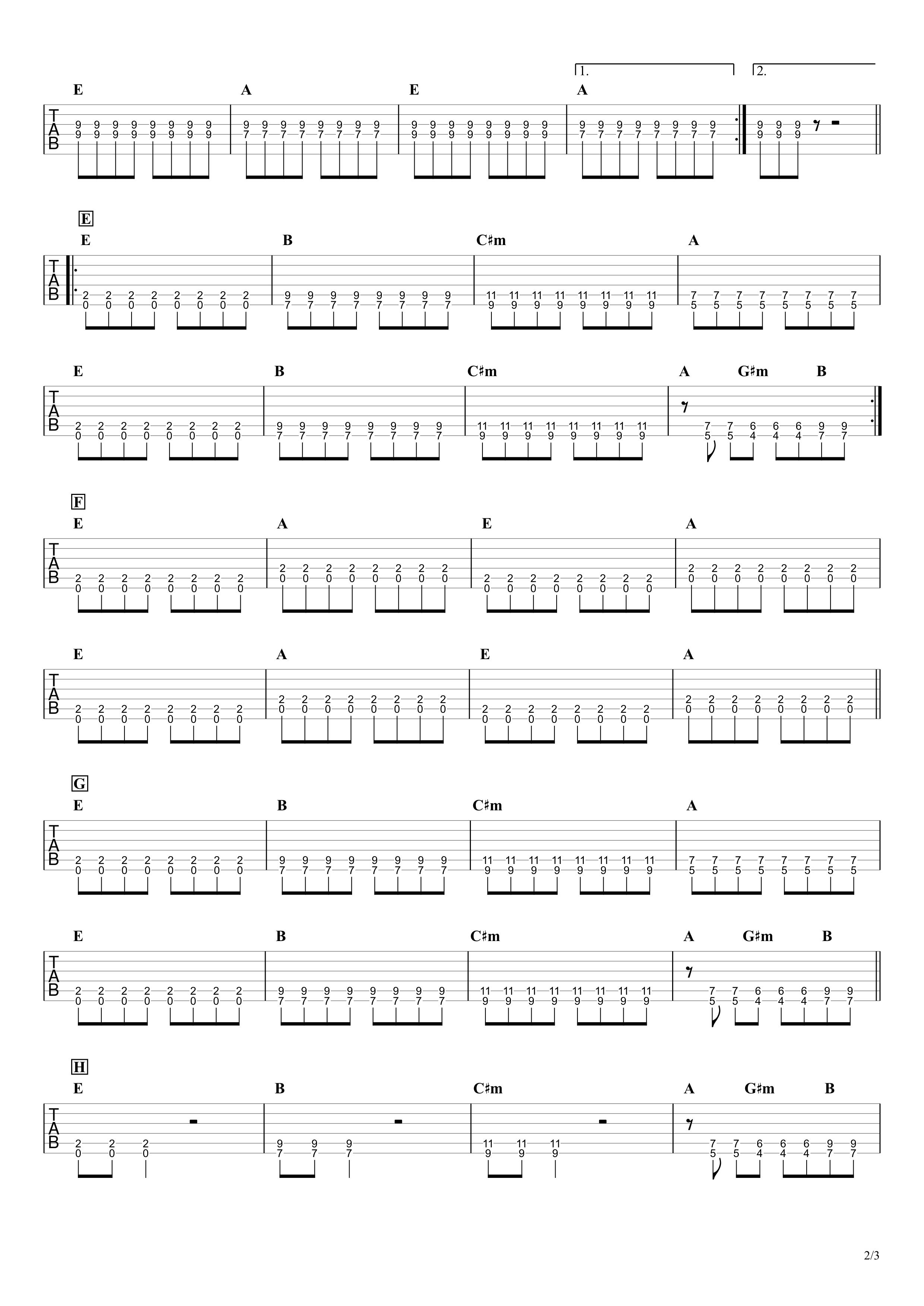 虹/ELLEGARDEN ギタータブ譜 ほぼパワーコードだけの簡単アレンジVer.02