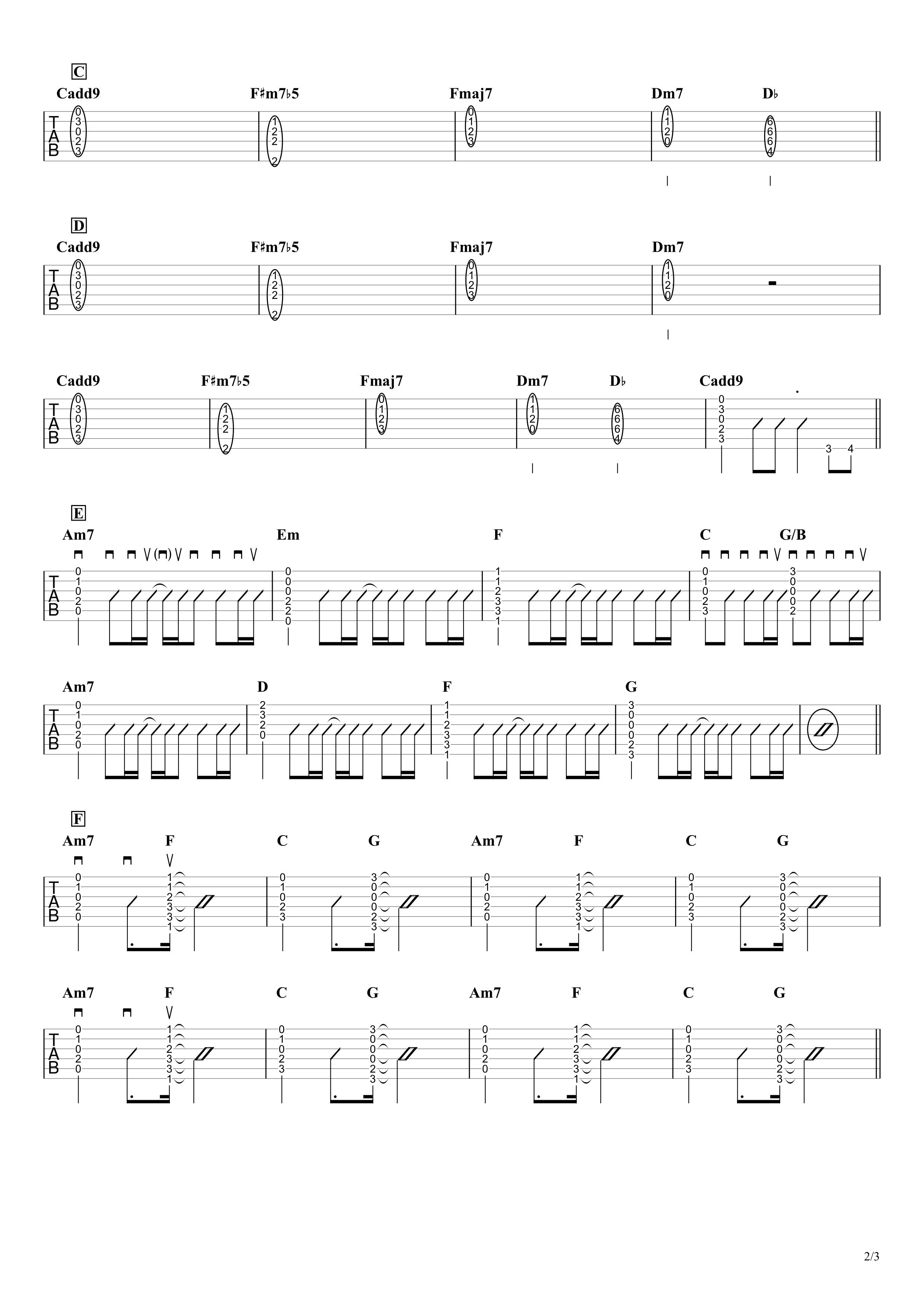 魔法/Myuk ギタータブ譜 コードストロークで弾くVer.02