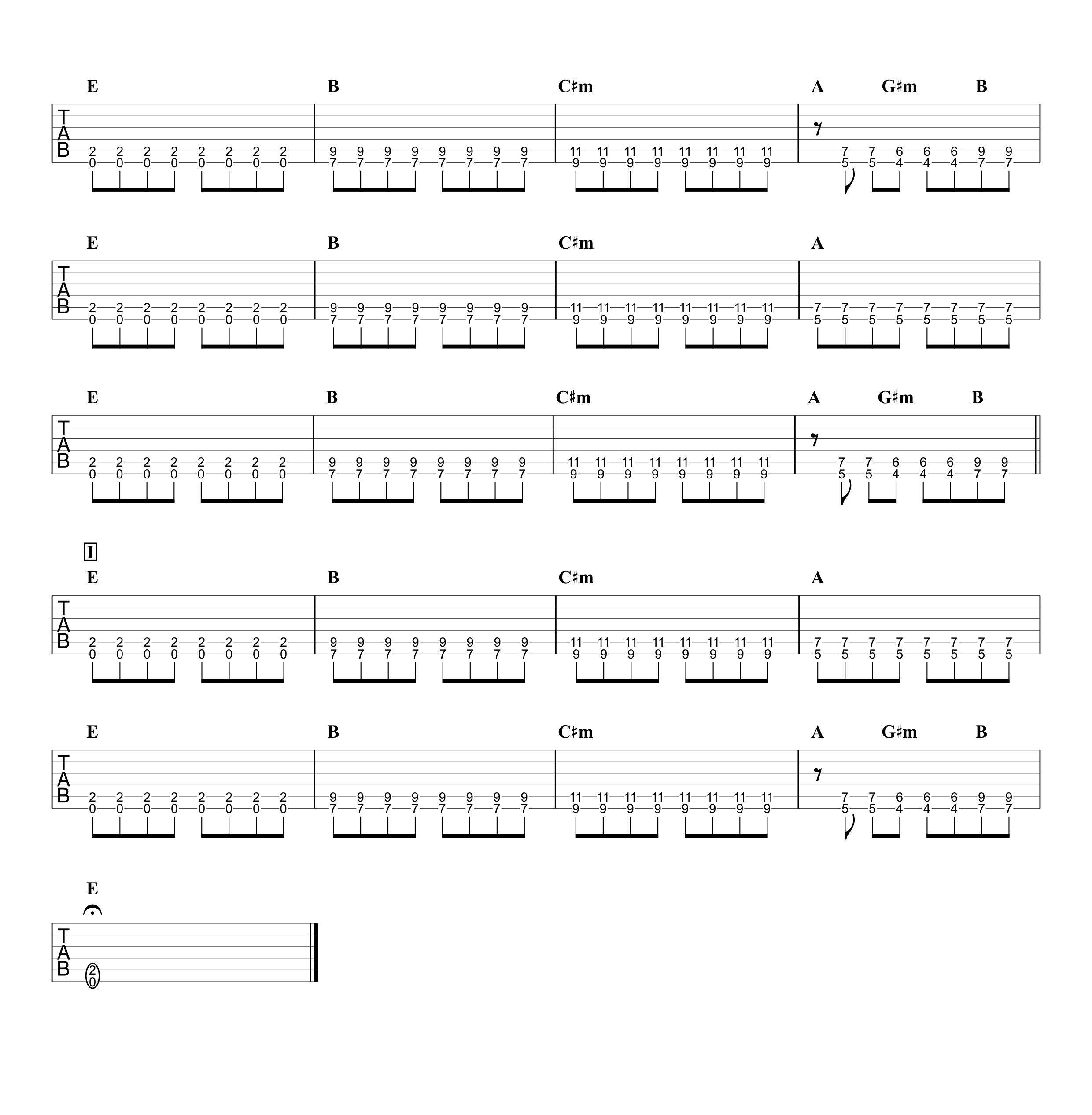 虹/ELLEGARDEN ギタータブ譜 ほぼパワーコードだけの簡単アレンジVer.03