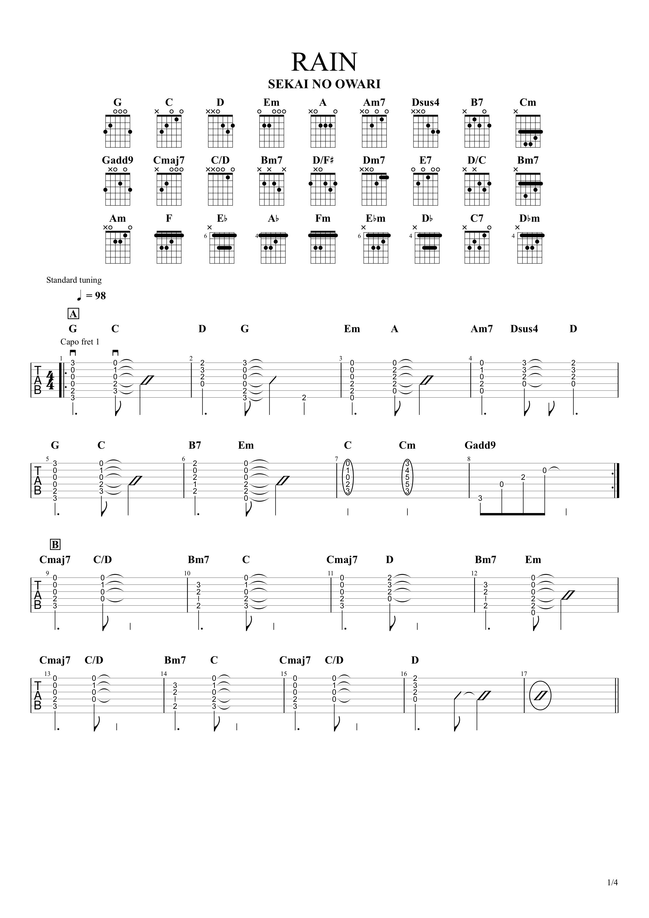 RAIN/SEKAI NO OWARI ギタータブ譜 コードストロークで弾くVer.01