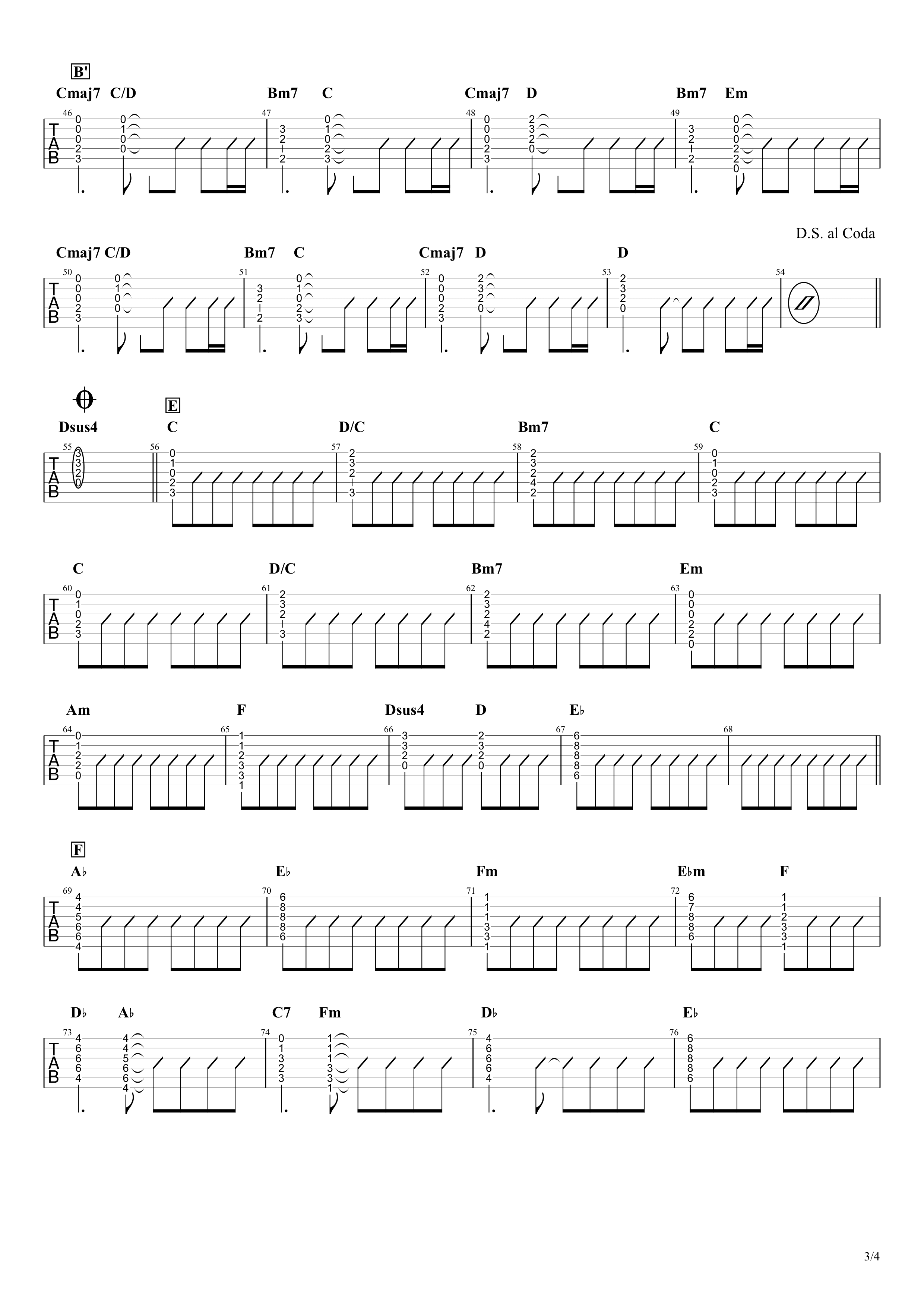 RAIN/SEKAI NO OWARI ギタータブ譜 コードストロークで弾くVer.03