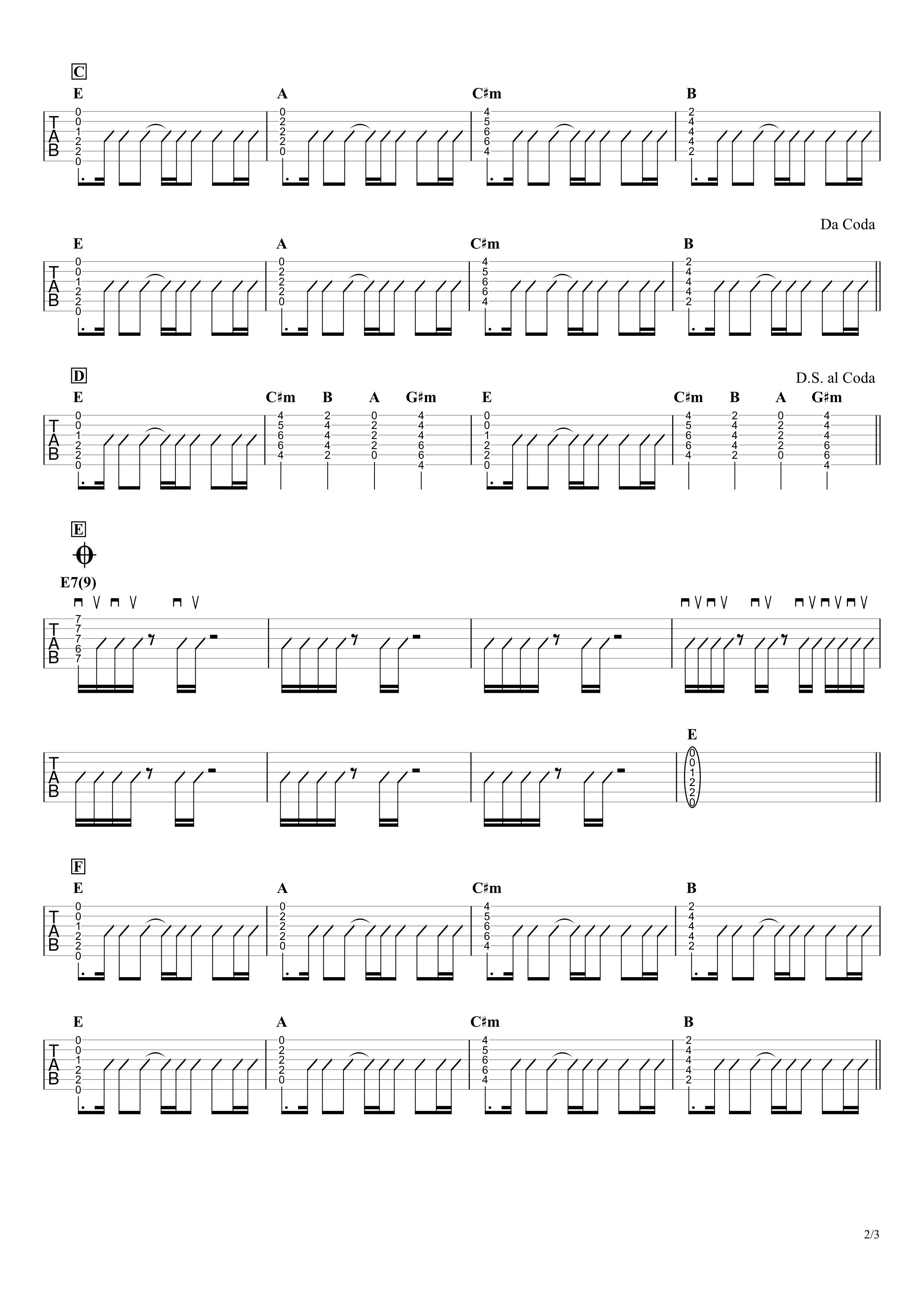ピースオブケーク/瑛人 ギタータブ譜 アコギで弾くコードストロークVer.02