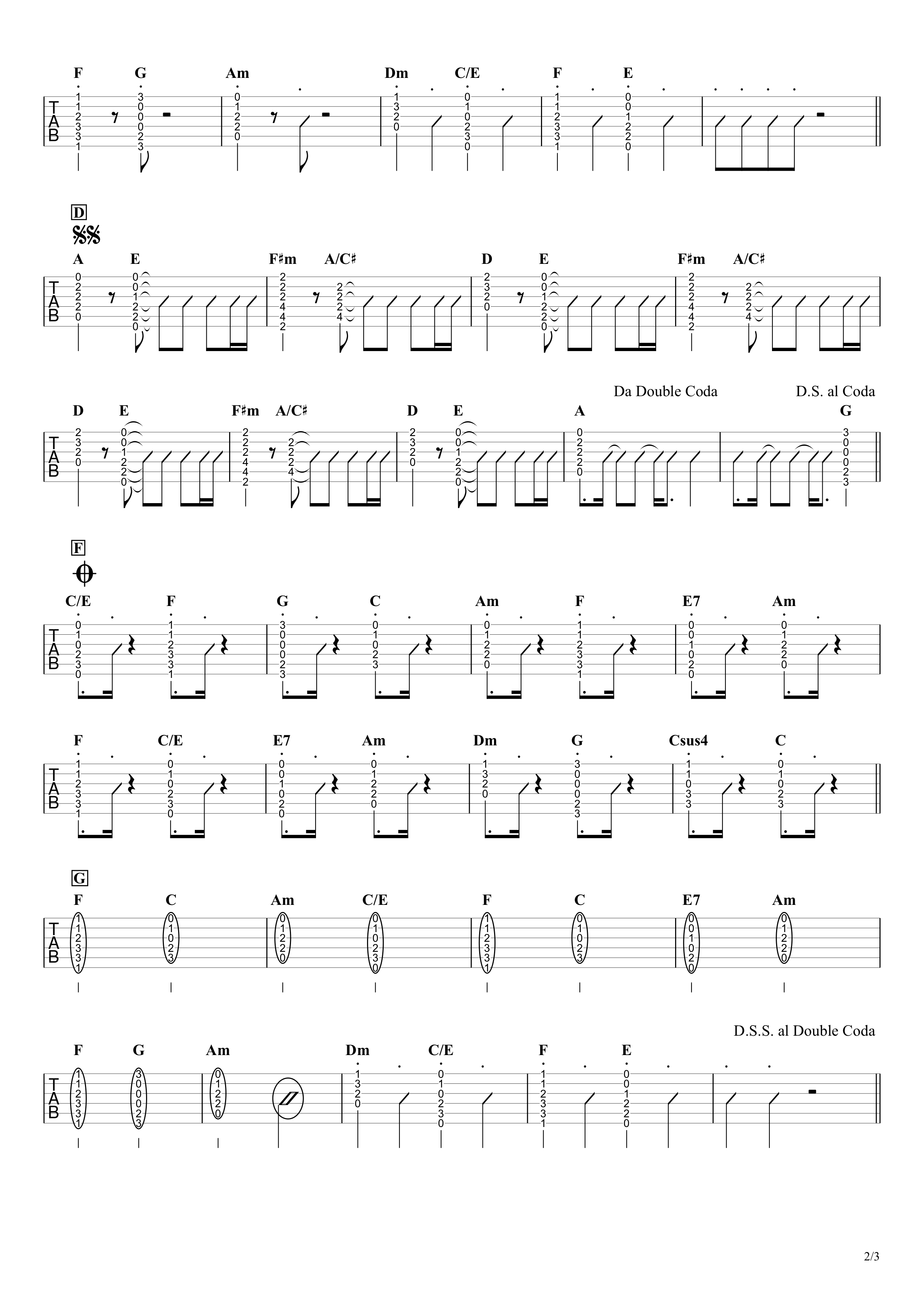 カイト/嵐 ギタータブ譜 アコギ向けコードストロークで弾くVer.02