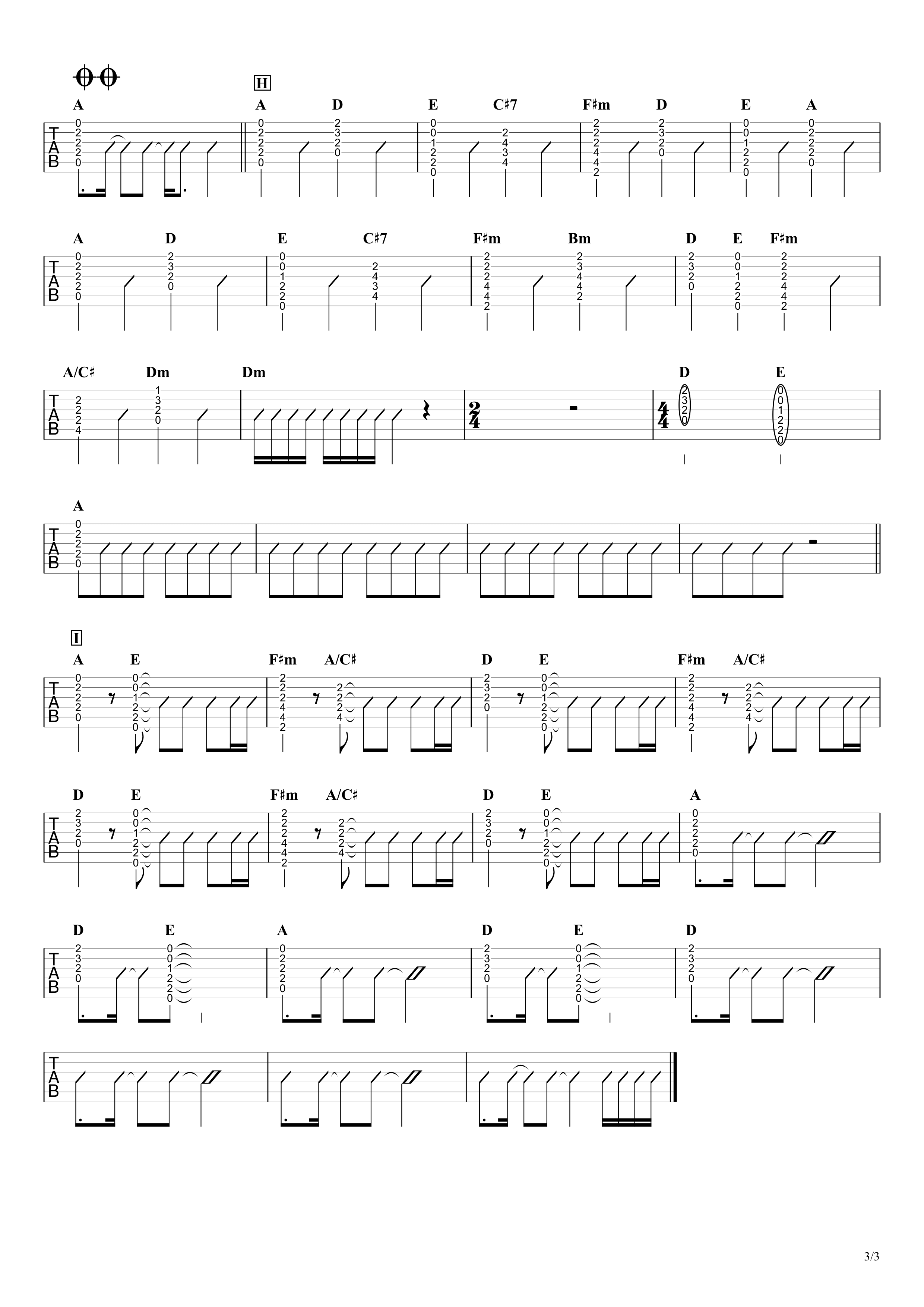 カイト/嵐 ギタータブ譜 アコギ向けコードストロークで弾くVer.03